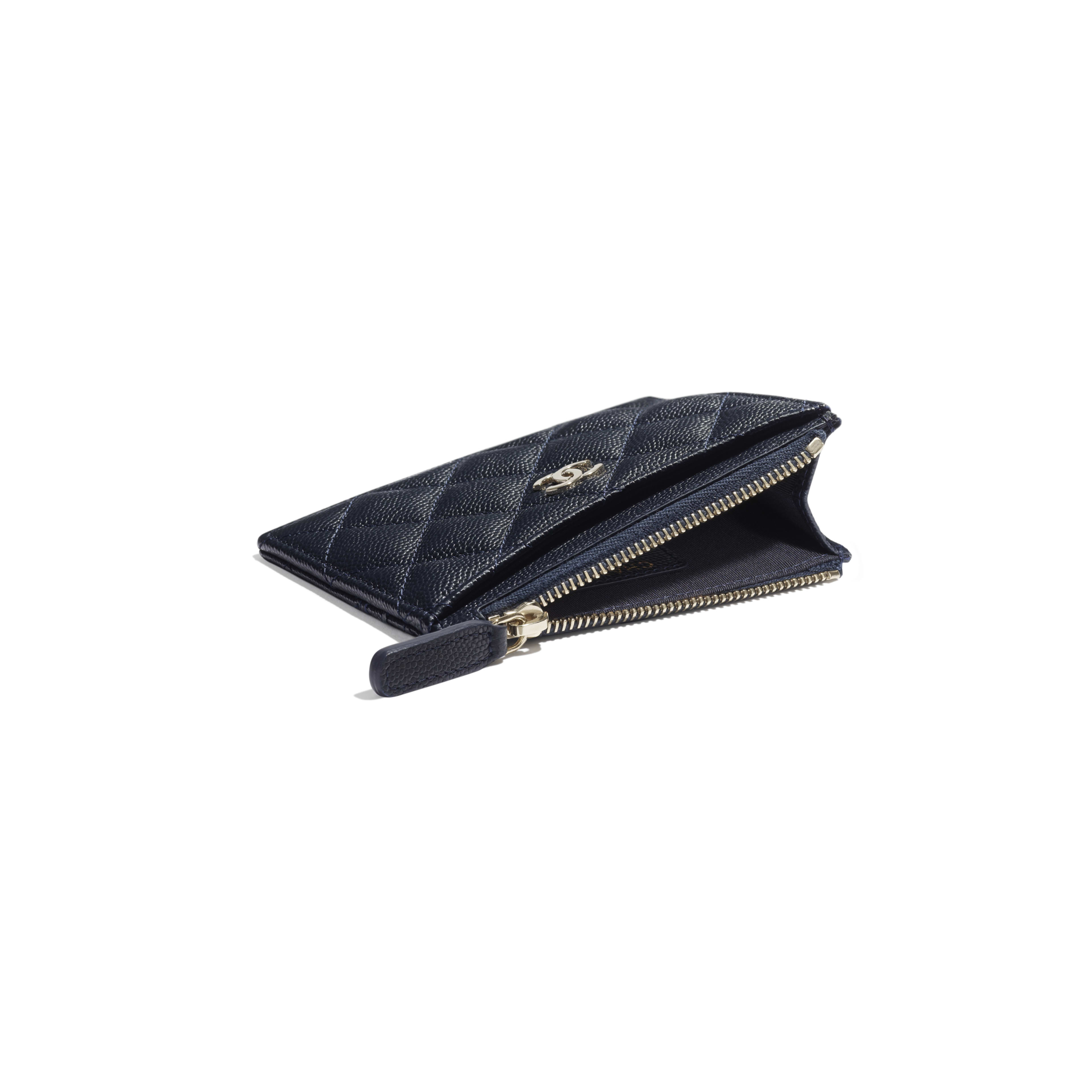 Classic Card Holder - Navy Blue - Grained Calfskin & Gold-Tone Metal - Extra view - see full sized version