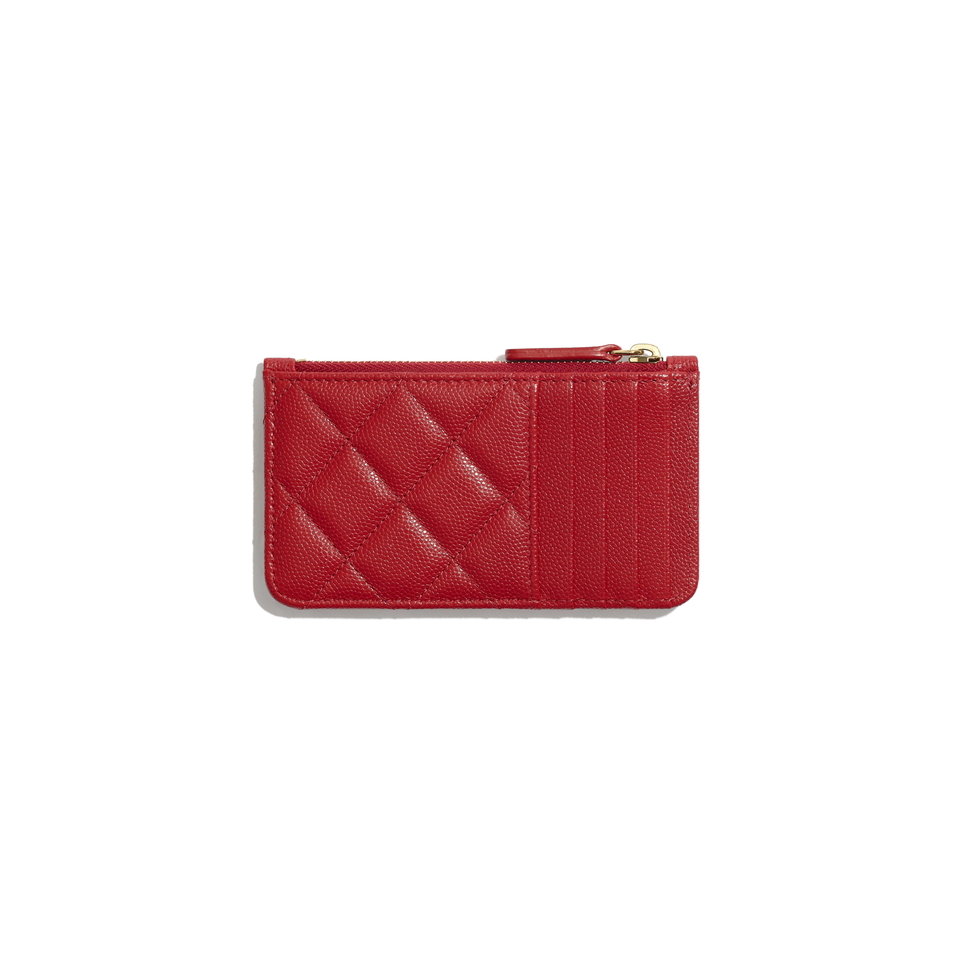 Classic Card Holder - Red - Grained Calfskin & Gold-Tone Metal - Alternative view - see full sized version