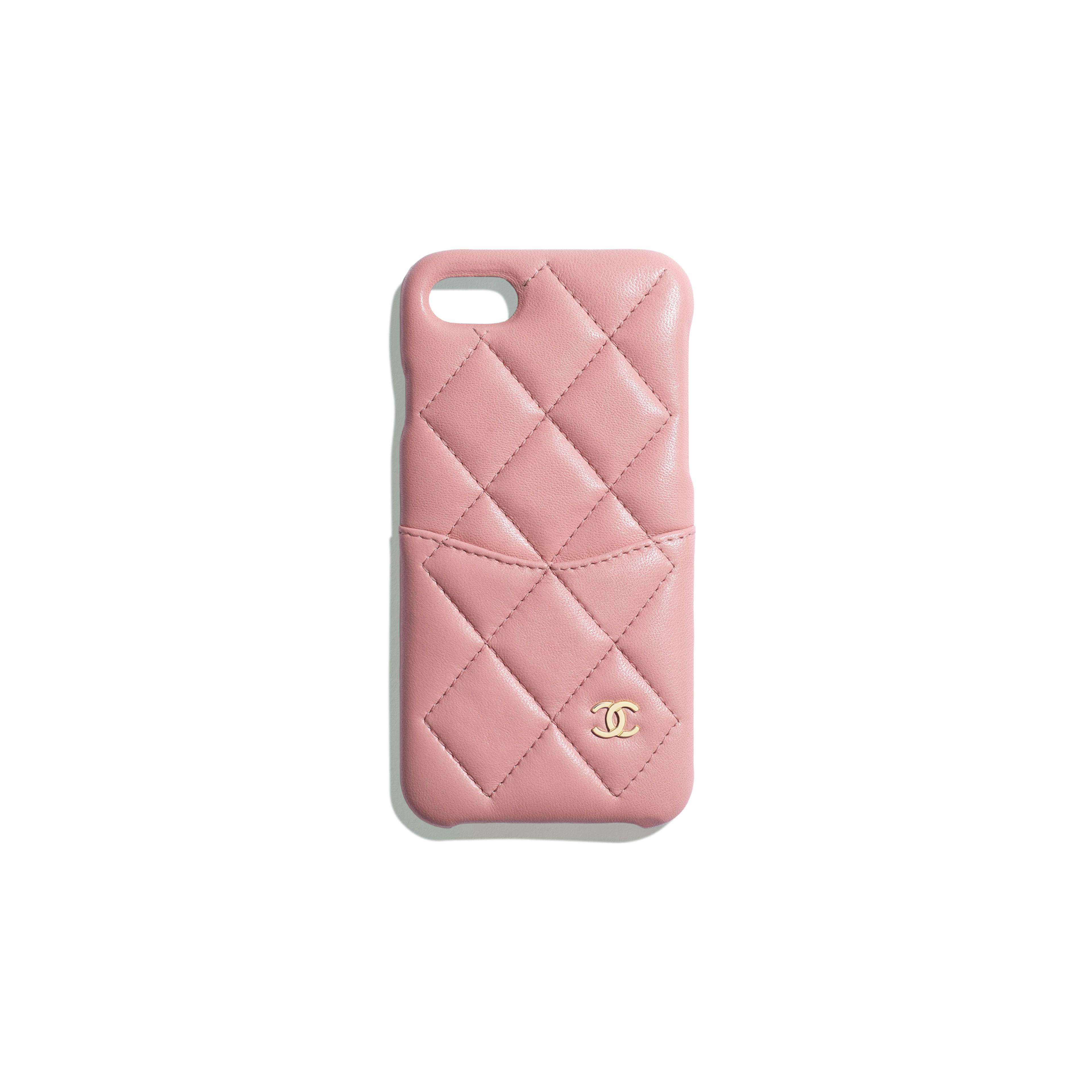 Classic Case for iPhone 7 & 8 - Pink - Lambskin & Gold-Tone Metal - Default view - see full sized version
