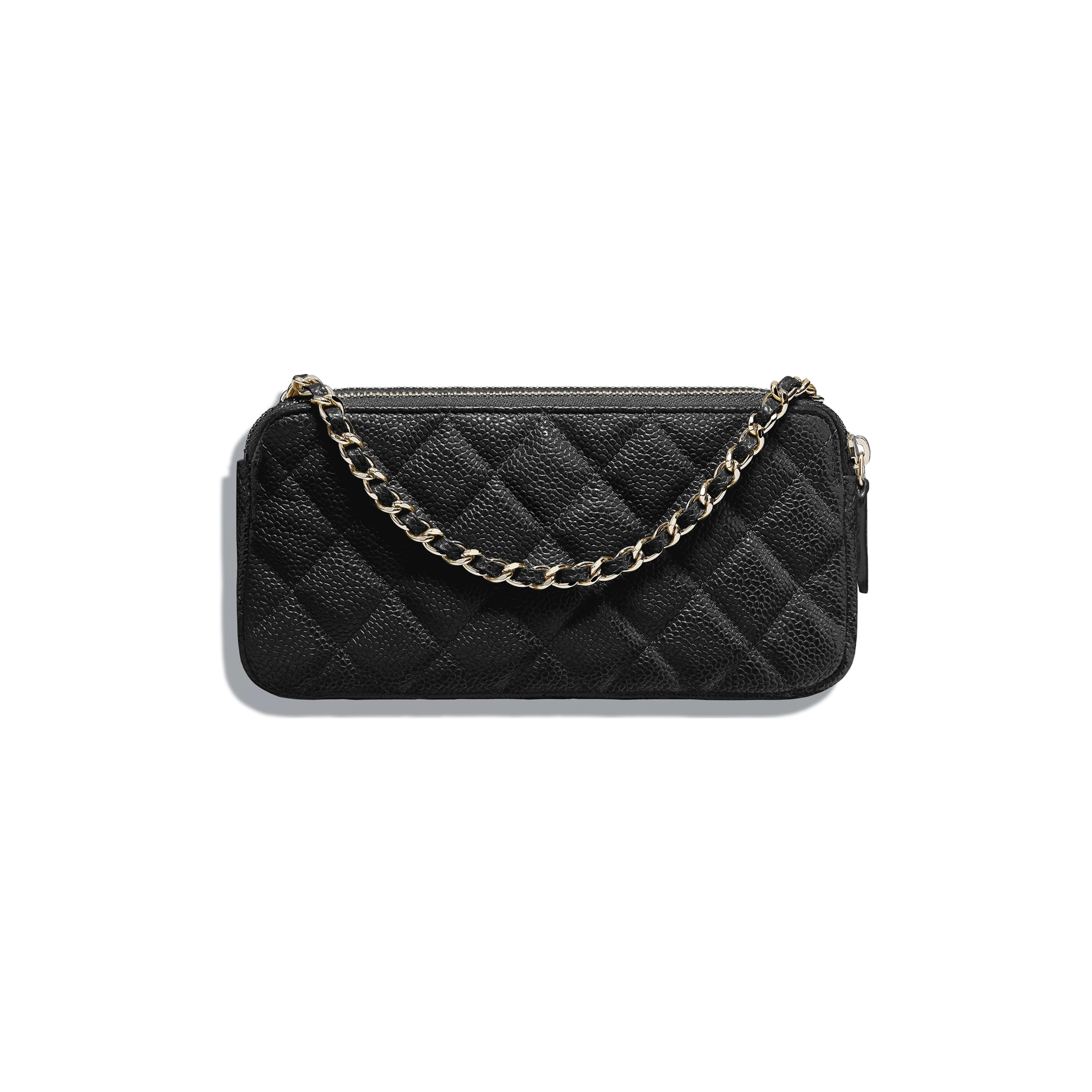 Classic Clutch with Chain - Black - Grained Calfskin & Gold-Tone Metal - Alternative view - see full sized version
