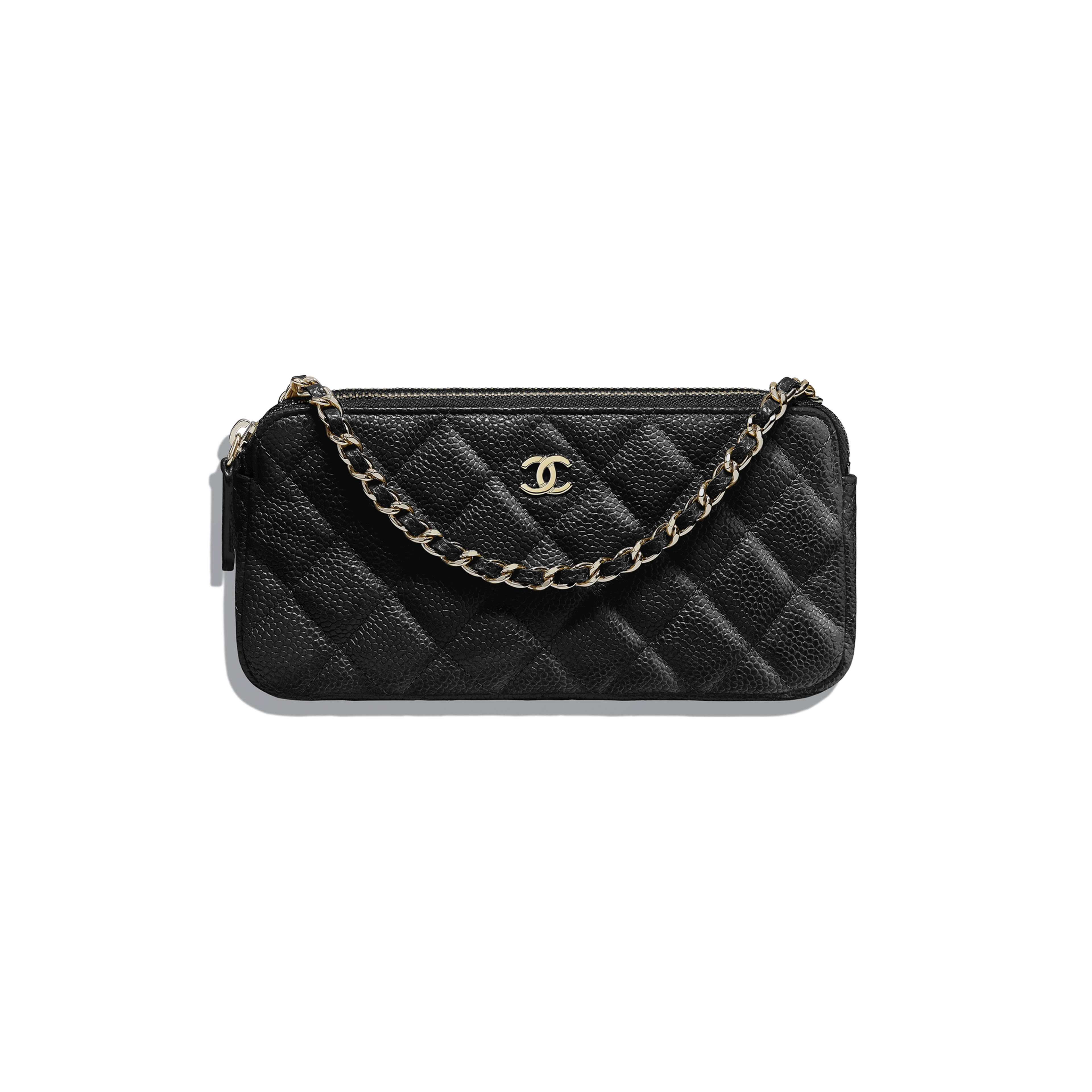 4832510217 Classic Clutch with Chain - Black - Grained Calfskin   Gold-Tone Metal -  Default ...