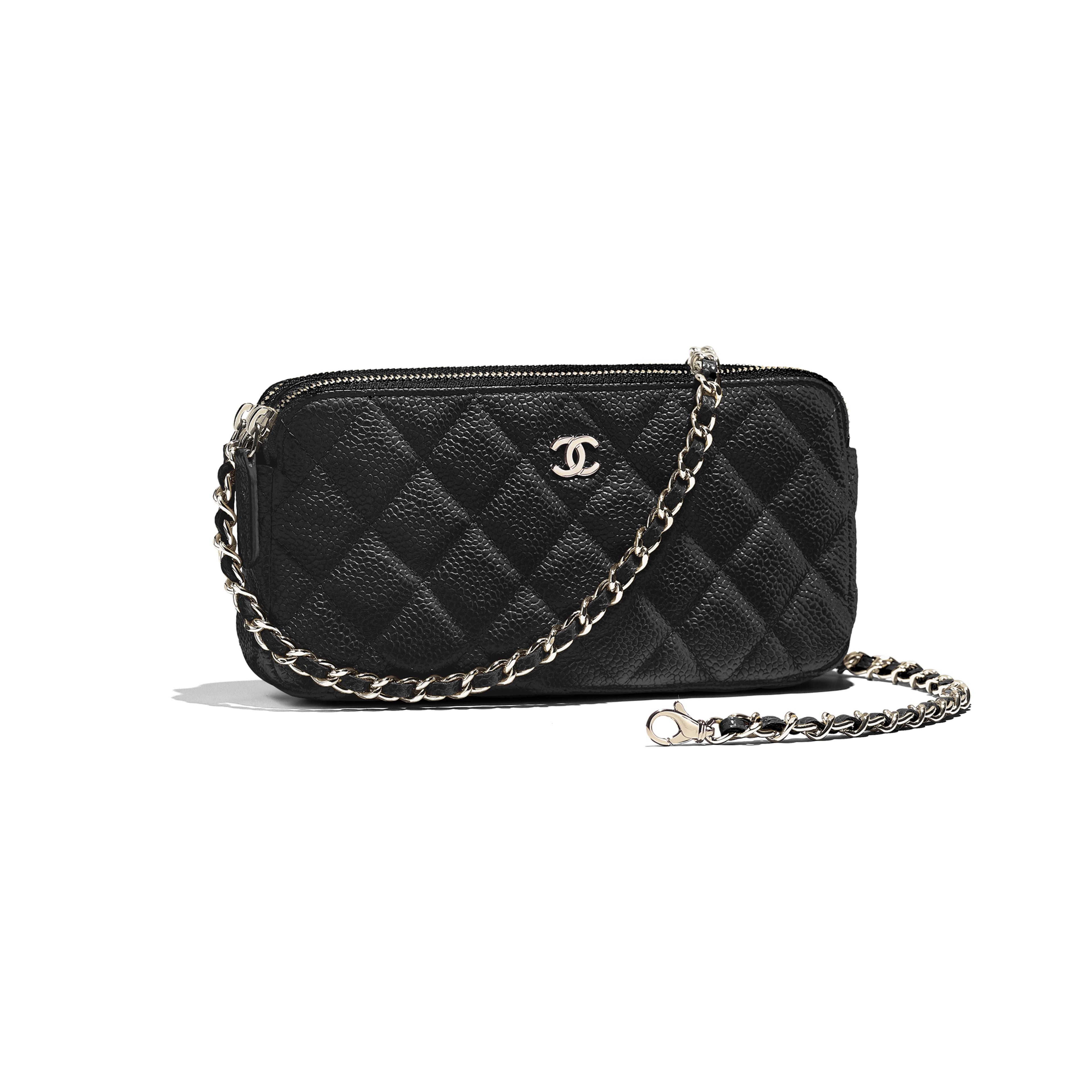 Classic Clutch with Chain - Black - Grained Calfskin & Gold-Tone Metal - Other view - see full sized version