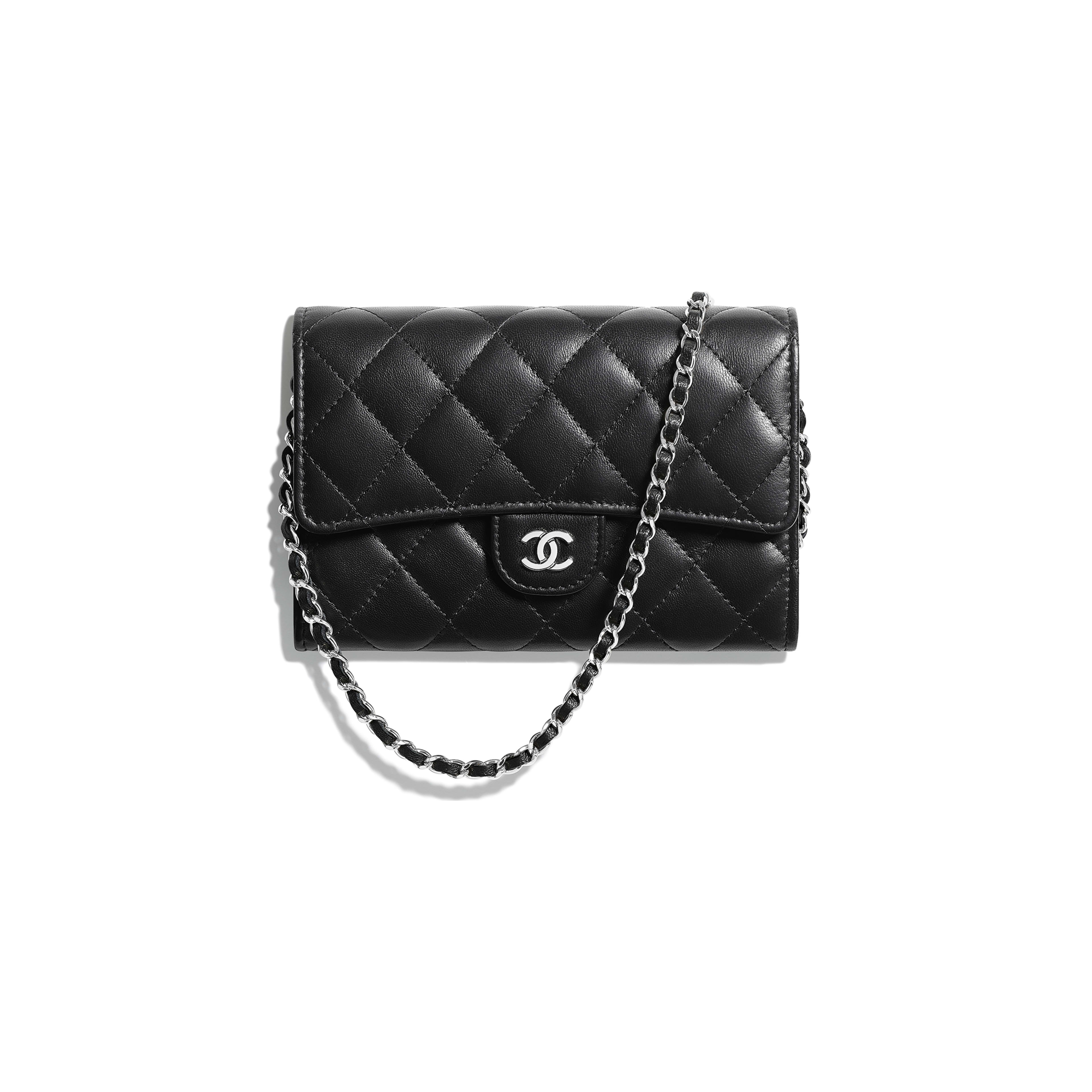 Classic Clutch With Chain - Black - Lambskin - Default view - see full sized version