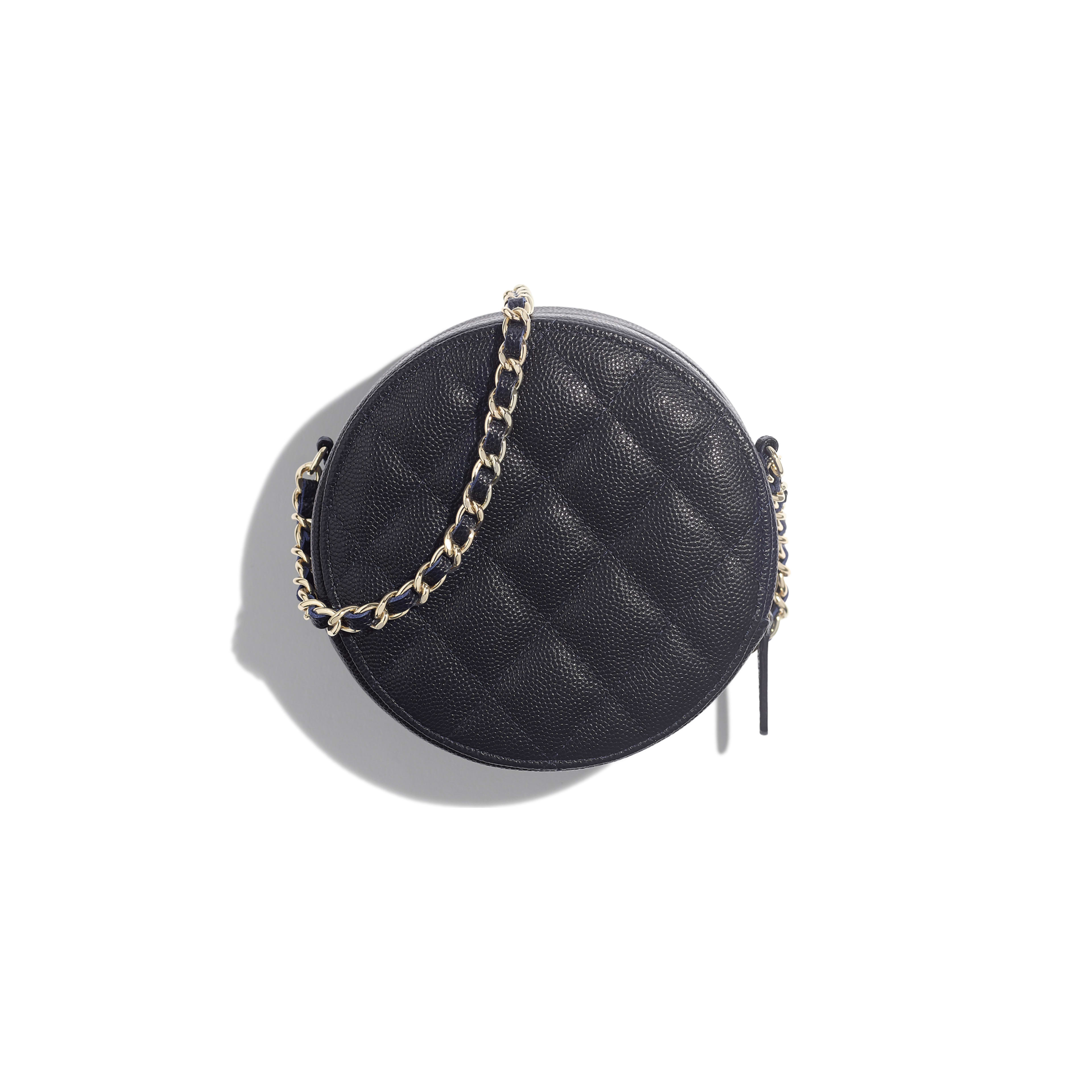 Classic Clutch With Chain - Navy Blue - Grained Calfskin & Gold-Tone Metal - Alternative view - see full sized version