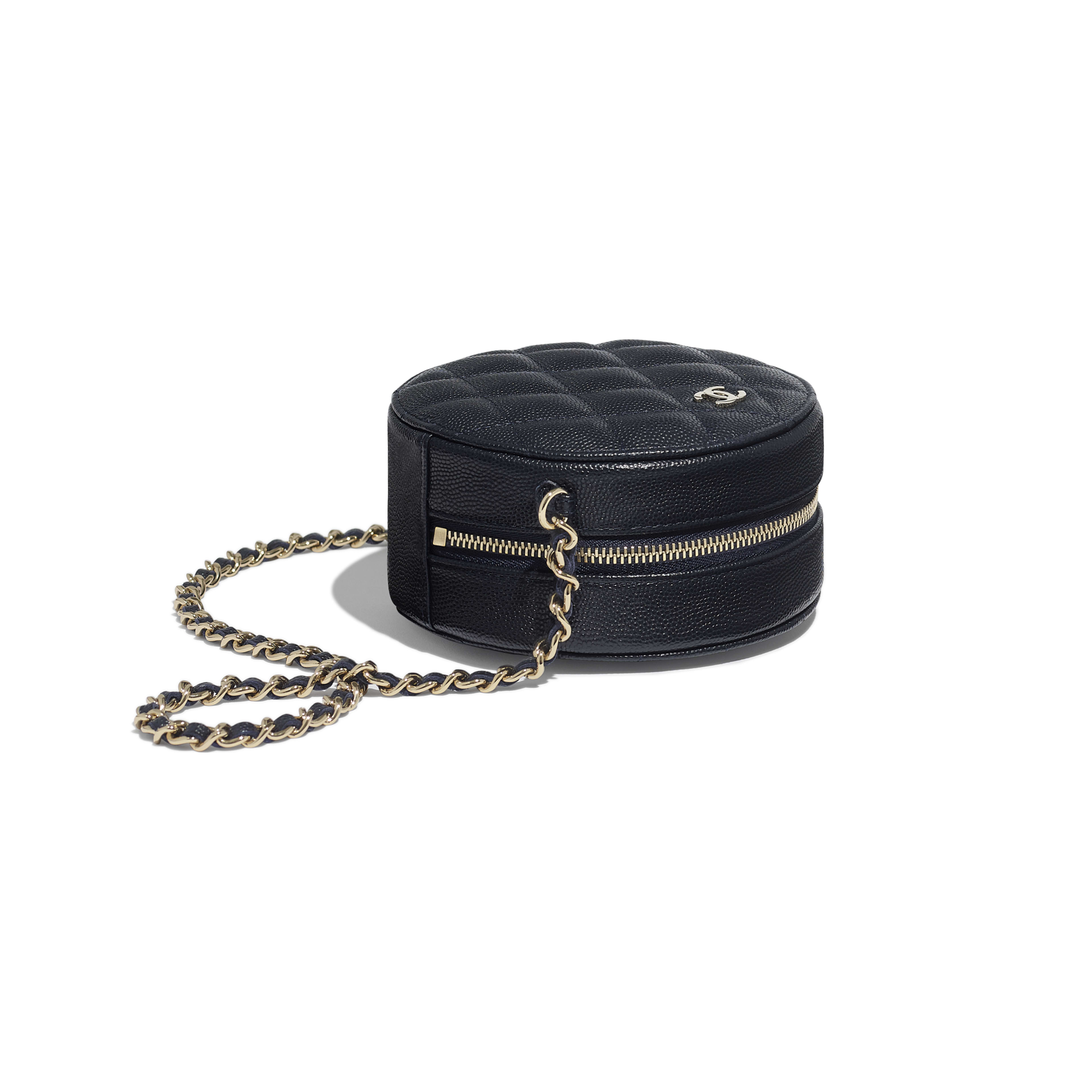 Classic Clutch With Chain - Navy Blue - Grained Calfskin & Gold-Tone Metal - Extra view - see full sized version