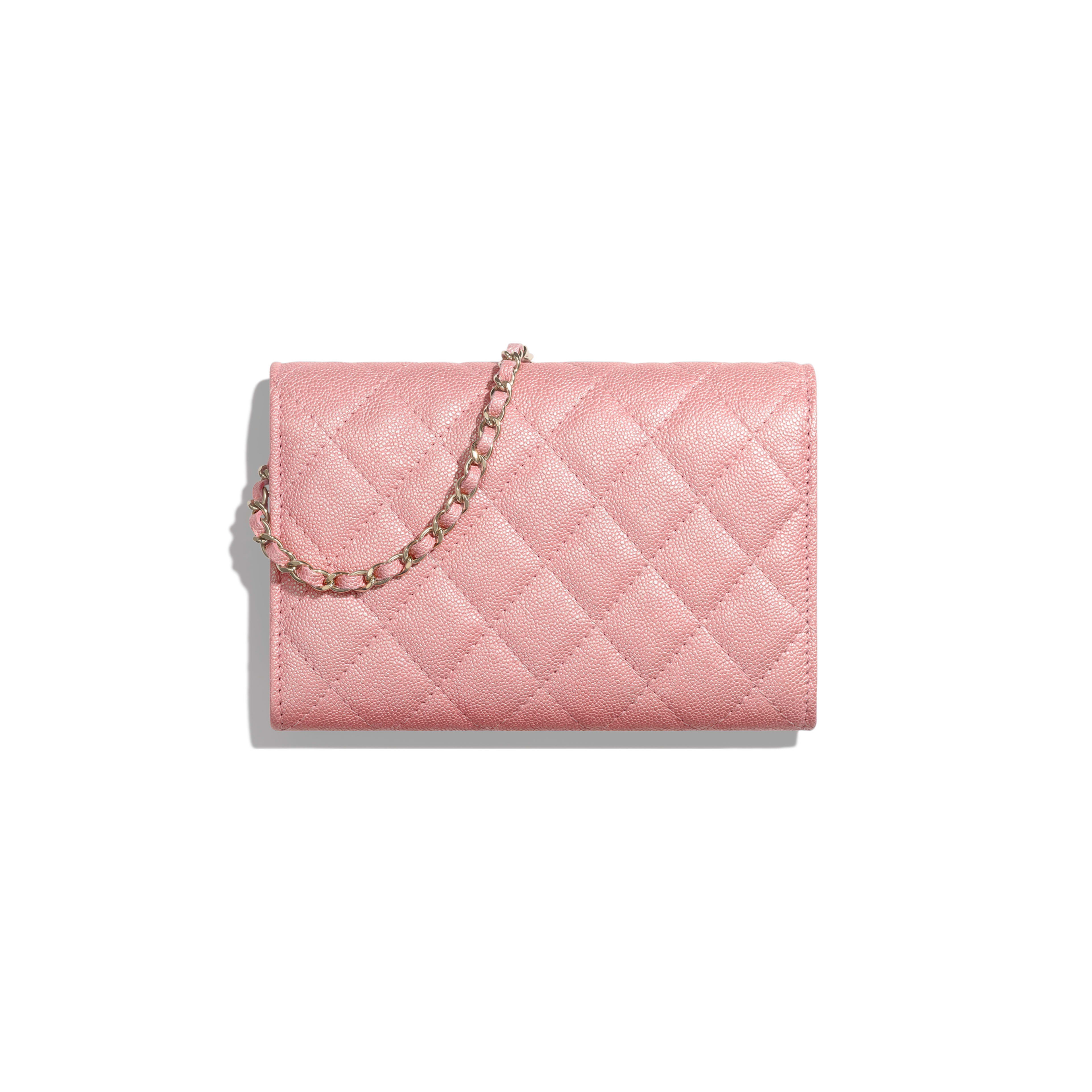 Classic Clutch with Chain - Pink - Iridescent Grained Calfskin & Gold-Tone Metal - Alternative view - see full sized version