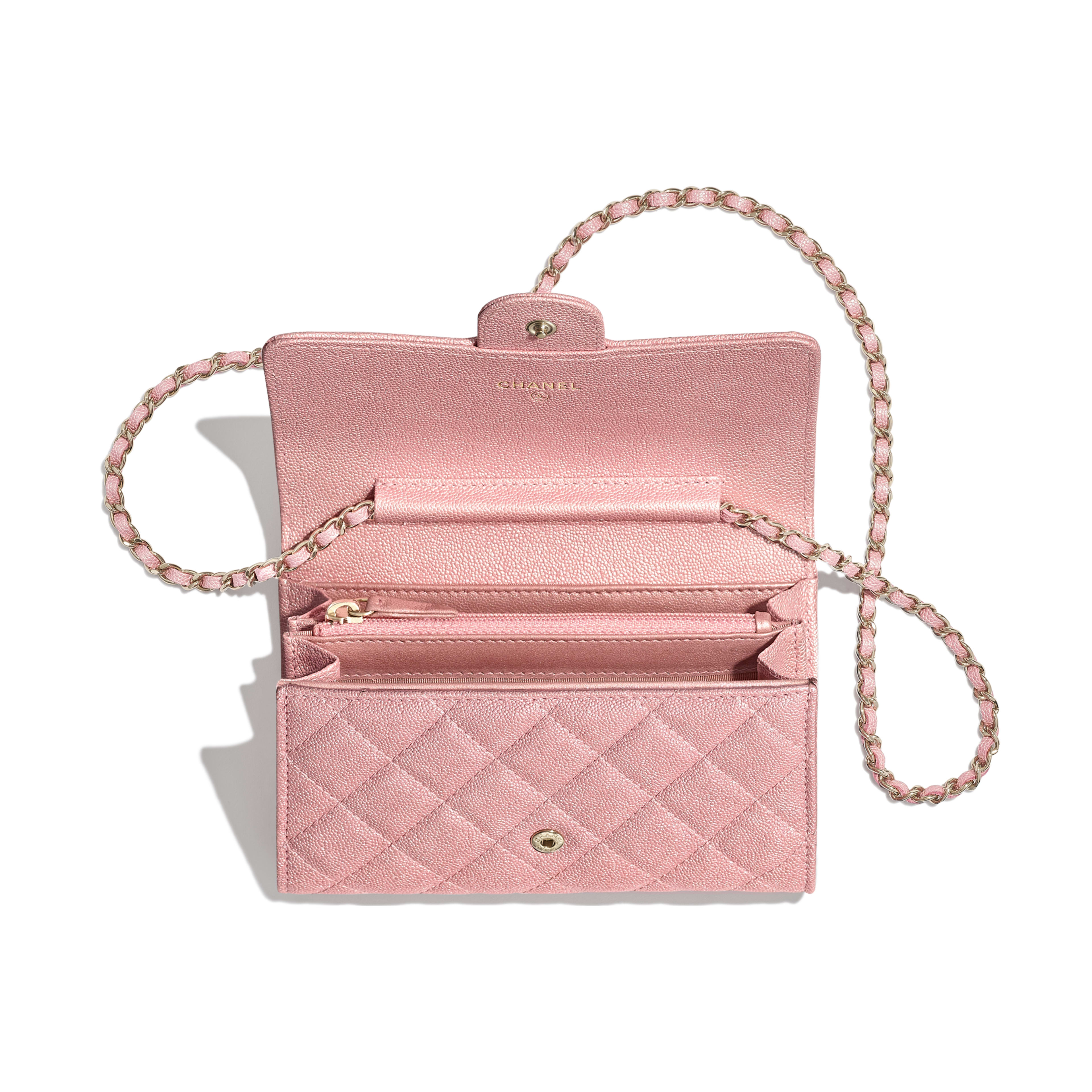 Classic Clutch with Chain - Pink - Iridescent Grained Calfskin & Gold-Tone Metal - Other view - see full sized version