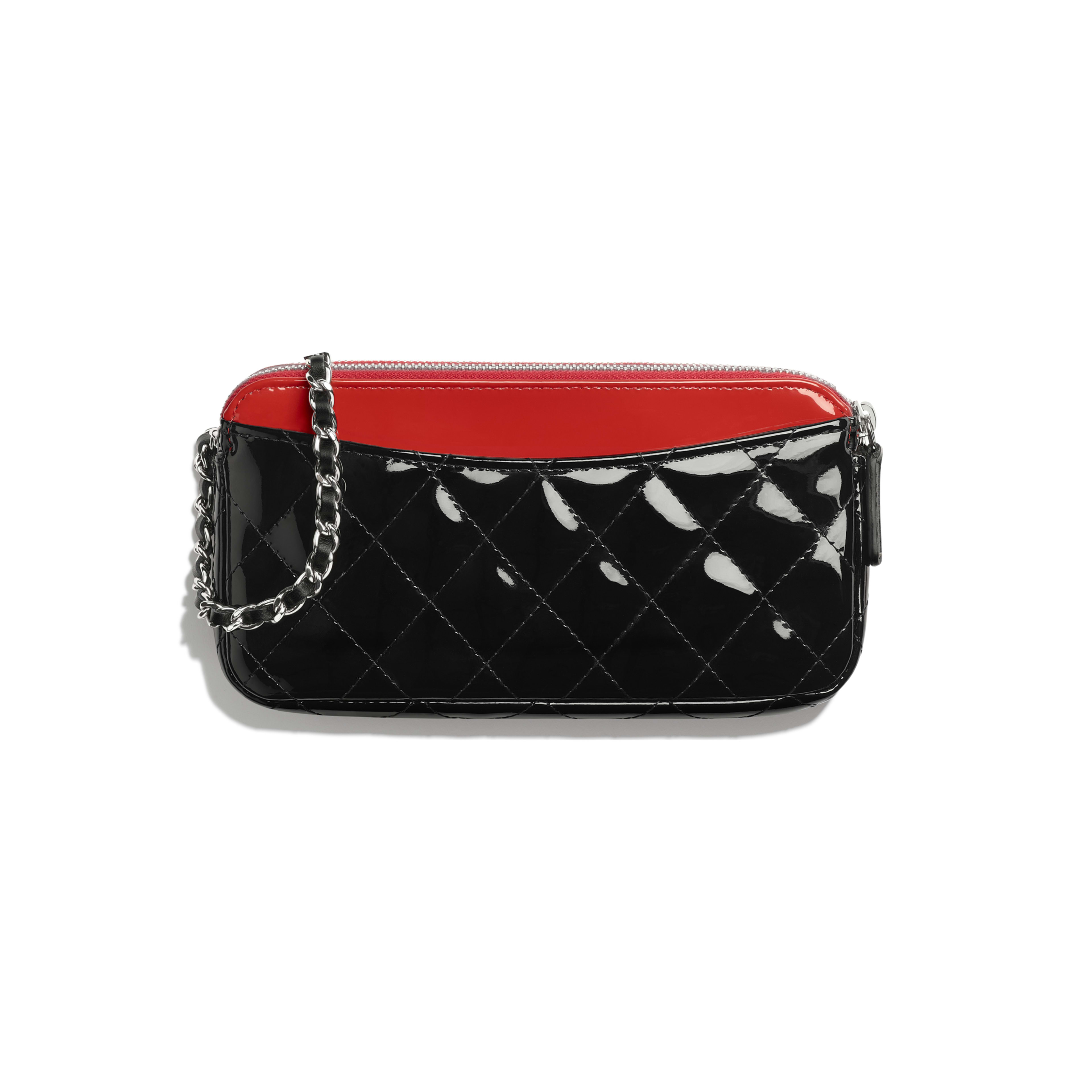Classic Clutch With Chain - Red & Black - Patent Calfskin - Alternative view - see full sized version
