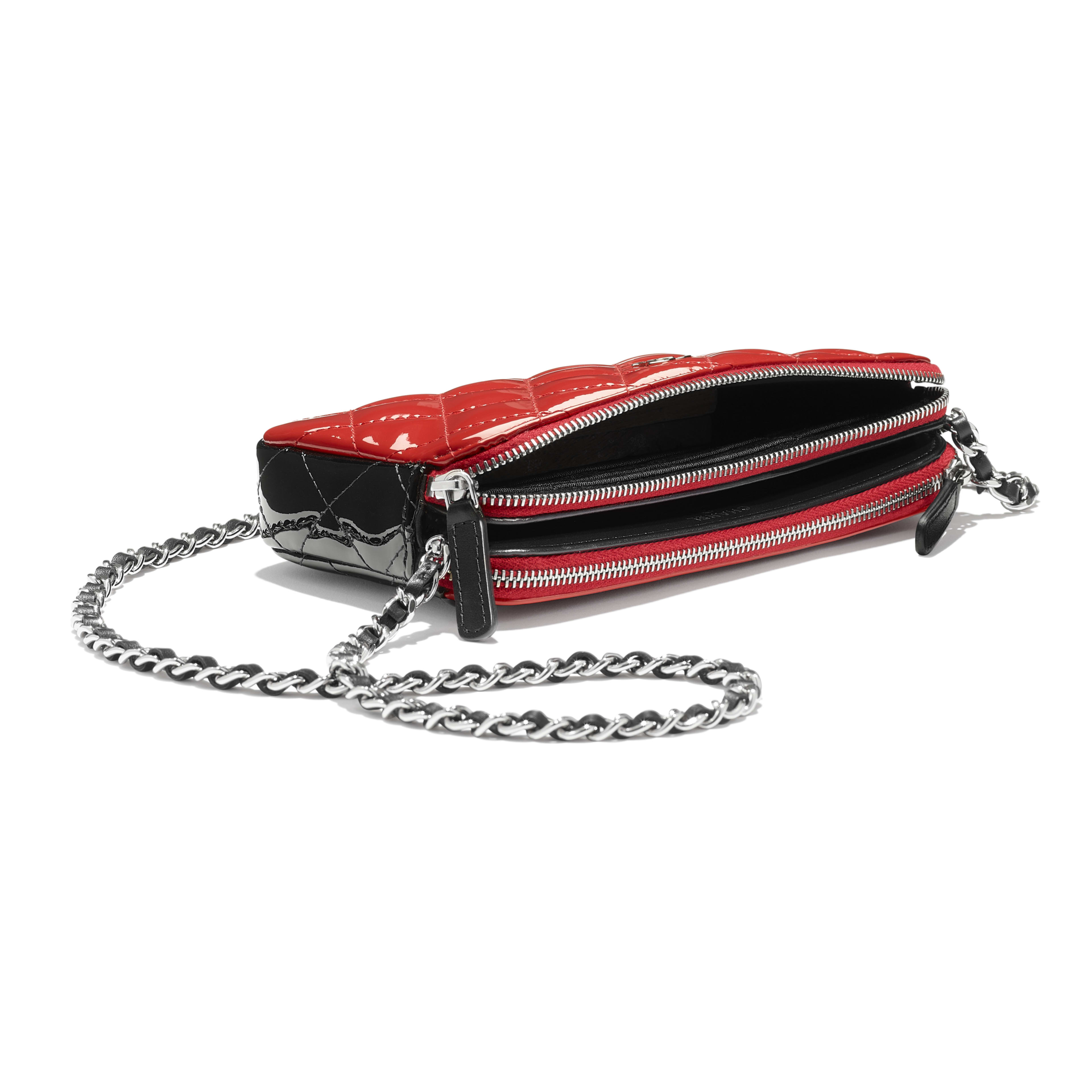 Classic Clutch With Chain - Red & Black - Patent Calfskin - Extra view - see full sized version