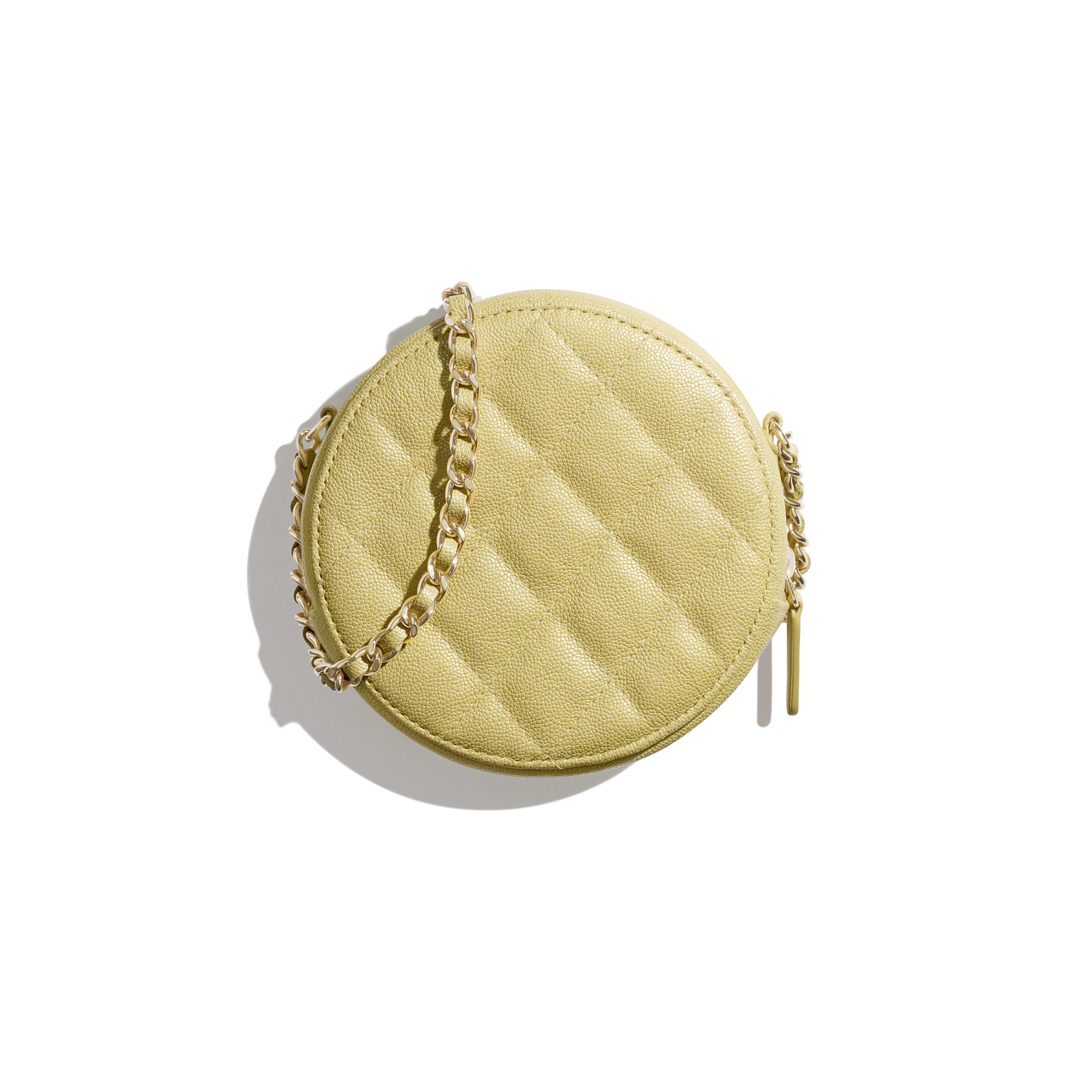 Classic Clutch with Chain - Yellow - Iridescent Grained Calfskin & Gold-Tone Metal - Alternative view - see full sized version