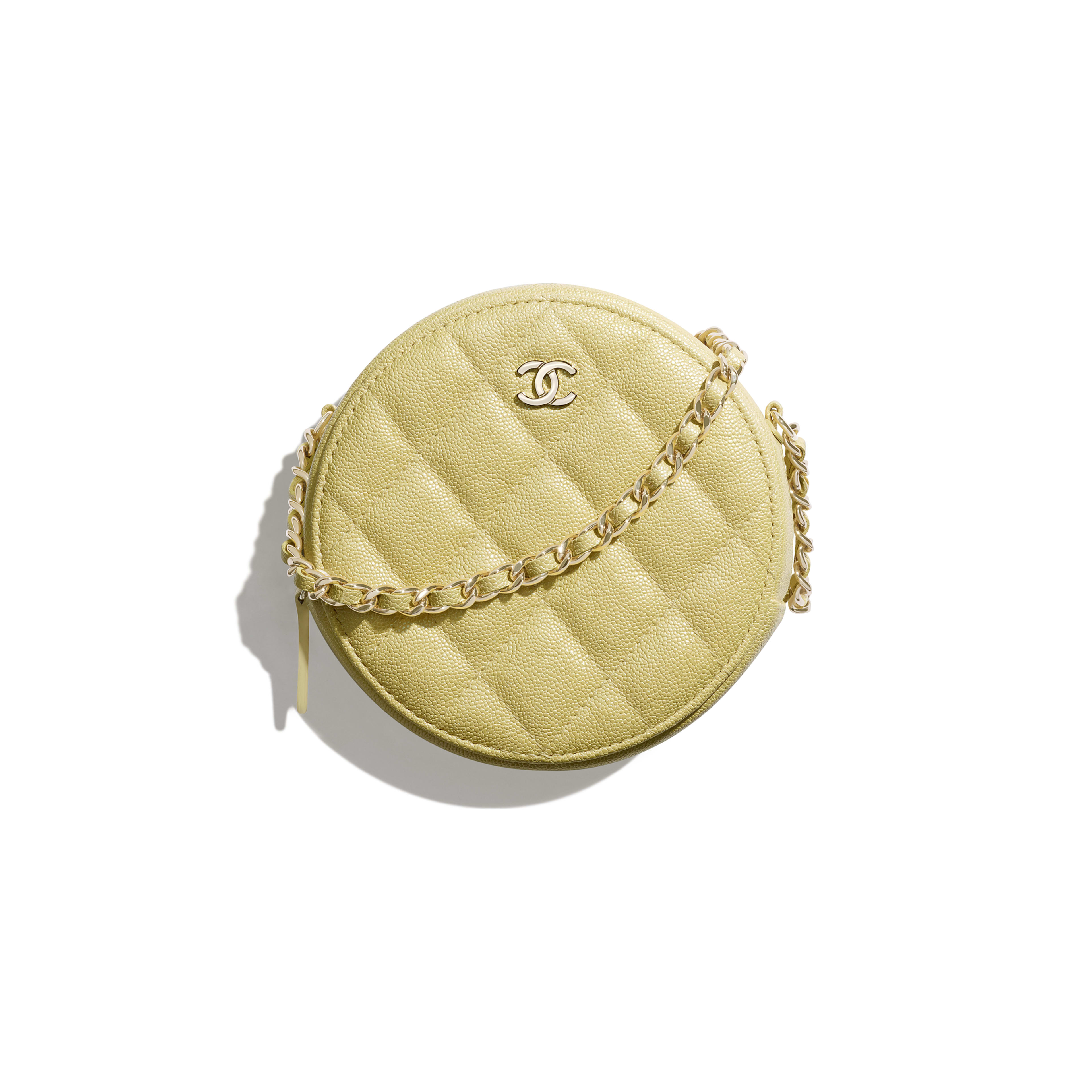 Classic Clutch with Chain - Yellow - Iridescent Grained Calfskin & Gold-Tone Metal - Default view - see full sized version