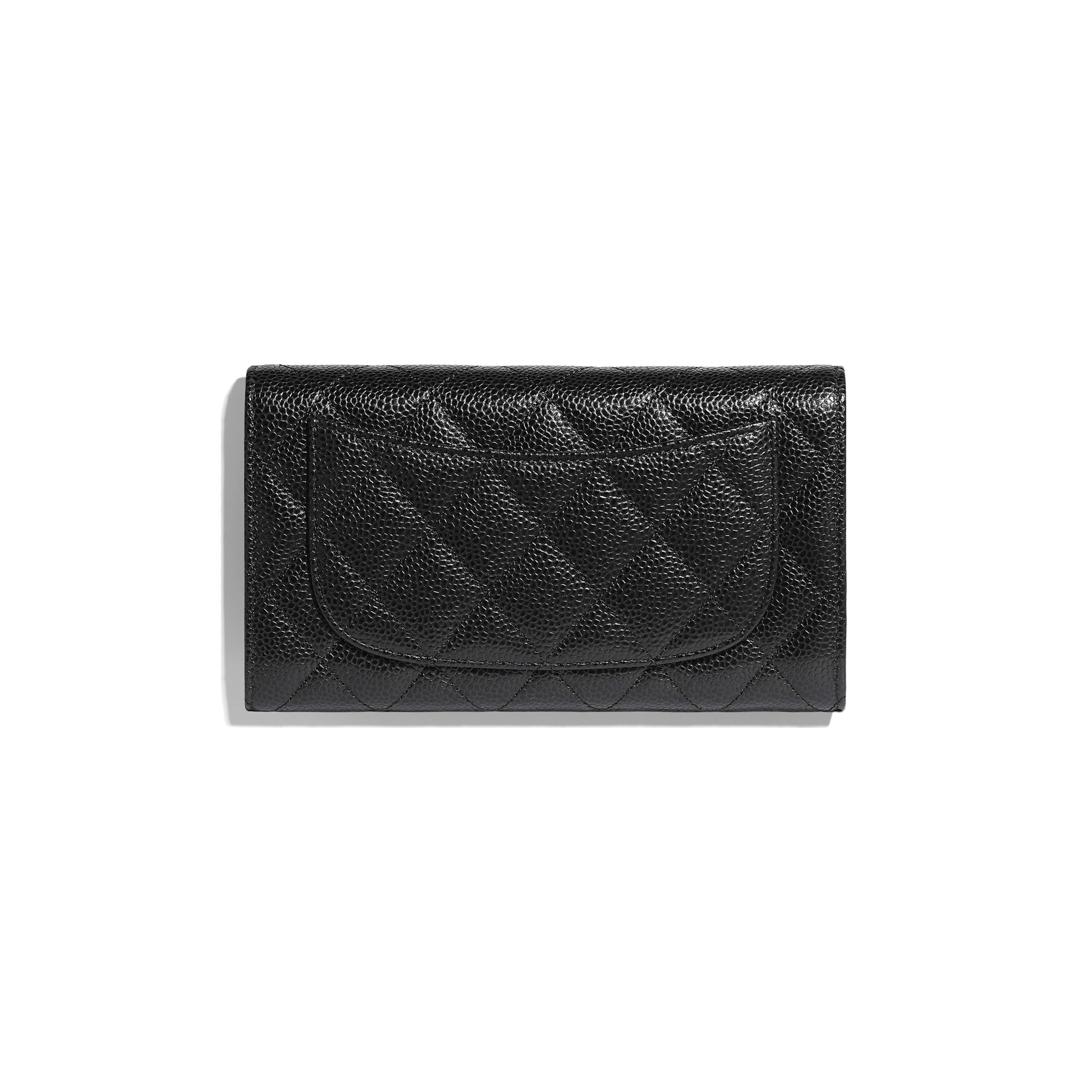 Classic Flap Wallet - Black - Grained Calfskin & Gold-Tone Metal - Alternative view - see full sized version