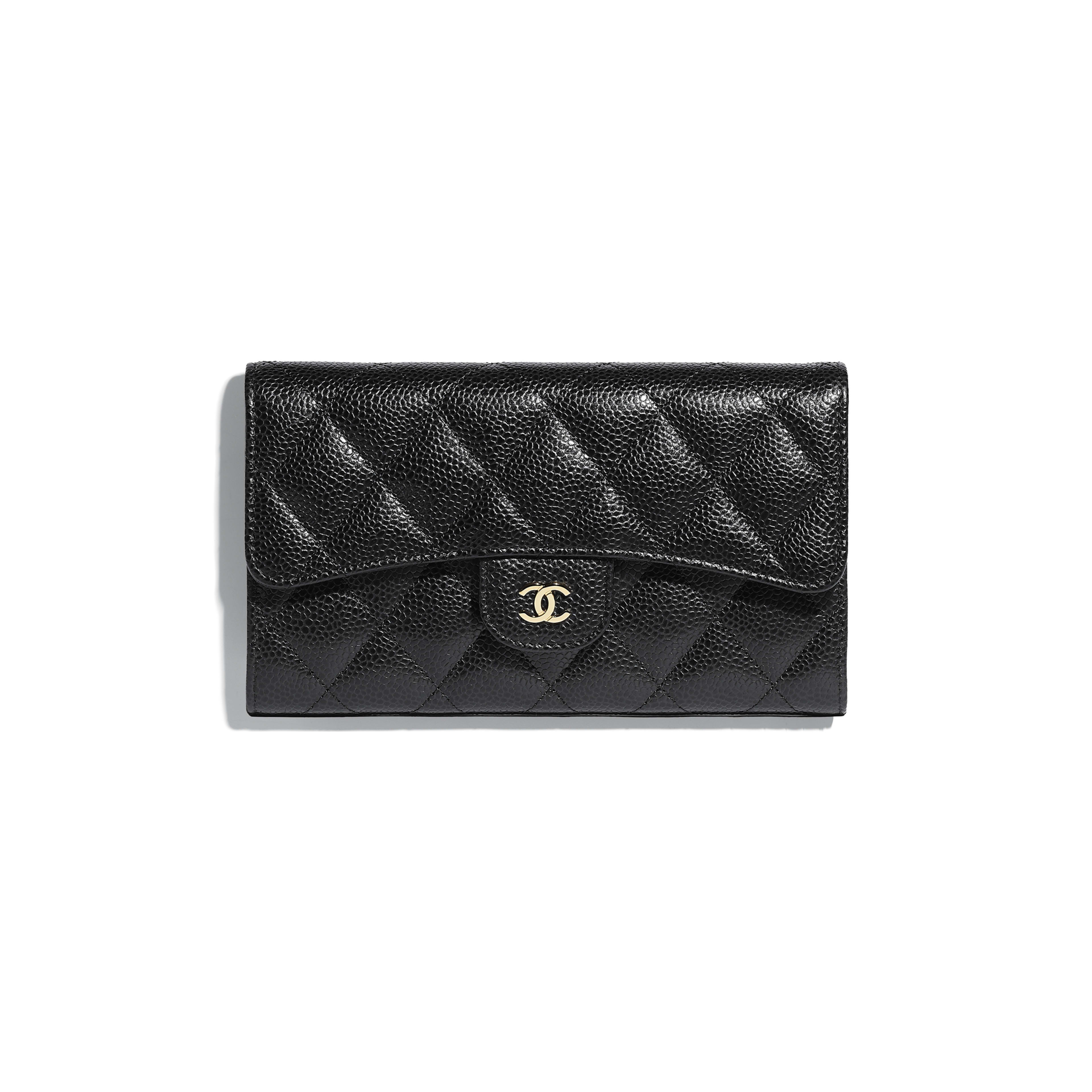 Classic Flap Wallet - Black - Grained Calfskin & Gold-Tone Metal - Default view - see full sized version