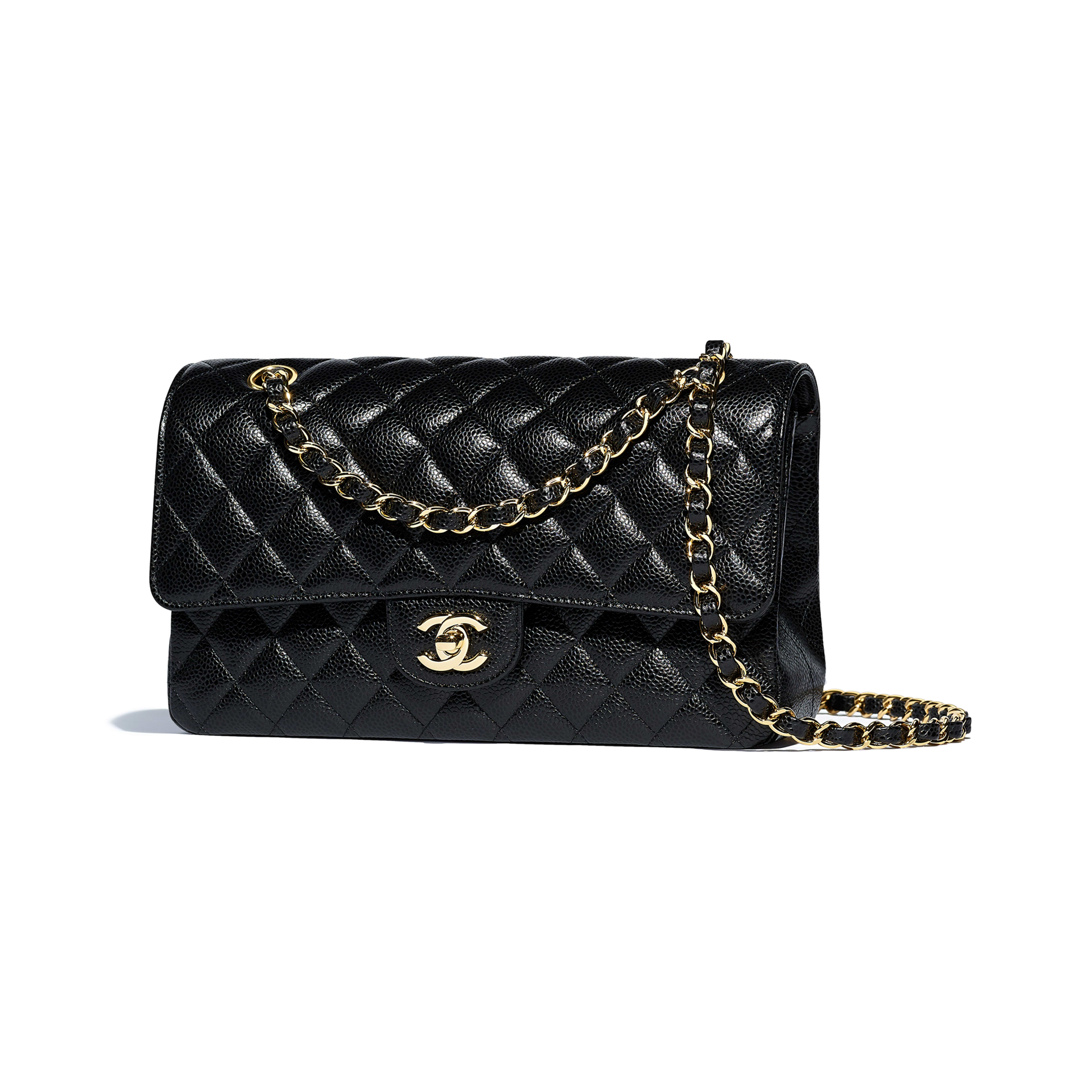 Classic Handbag - Black - Grained Calfskin & Gold-Tone Metal - Other view - see full sized version