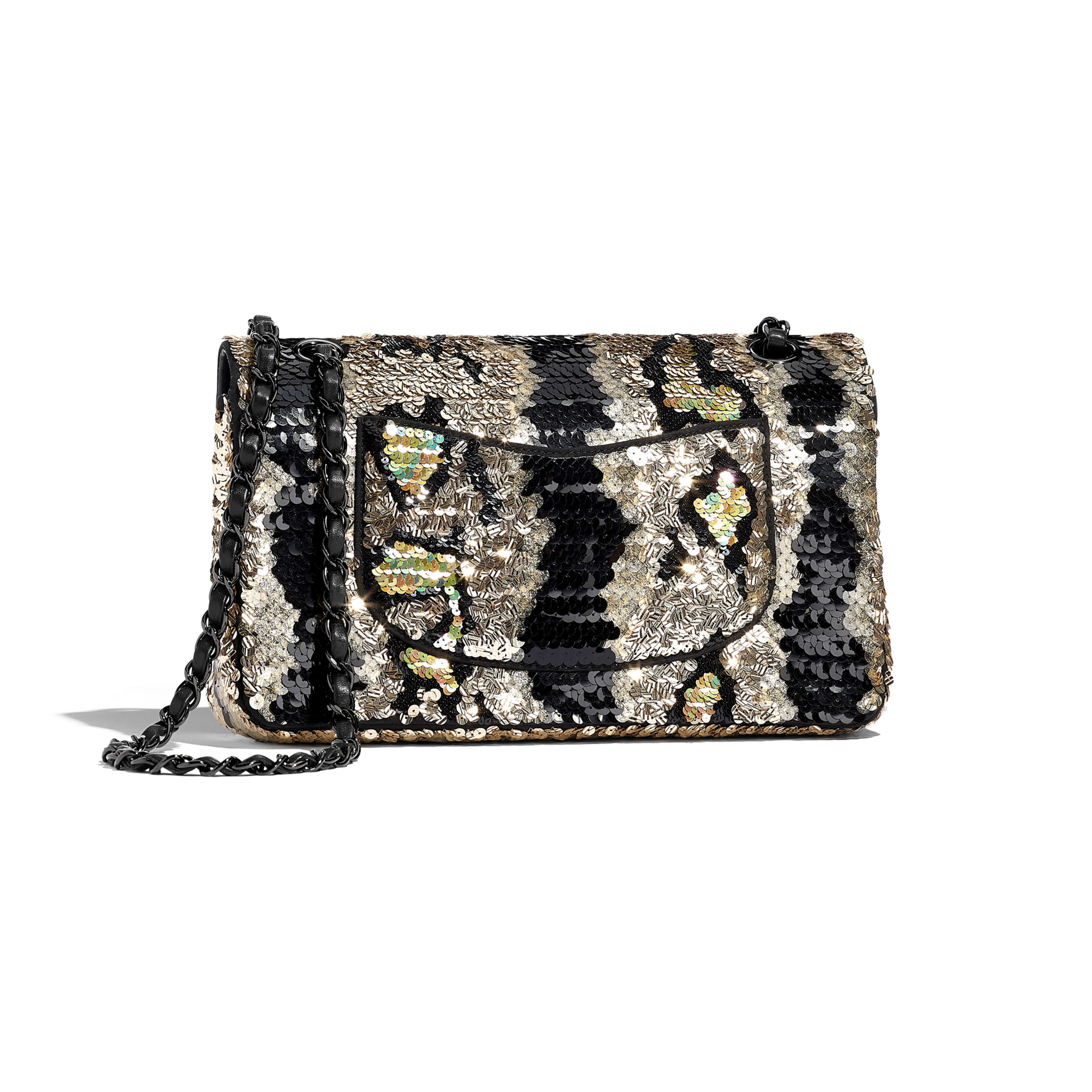 Classic Handbag - Gold & Black - Sequins & Black Metal - Alternative view - see full sized version