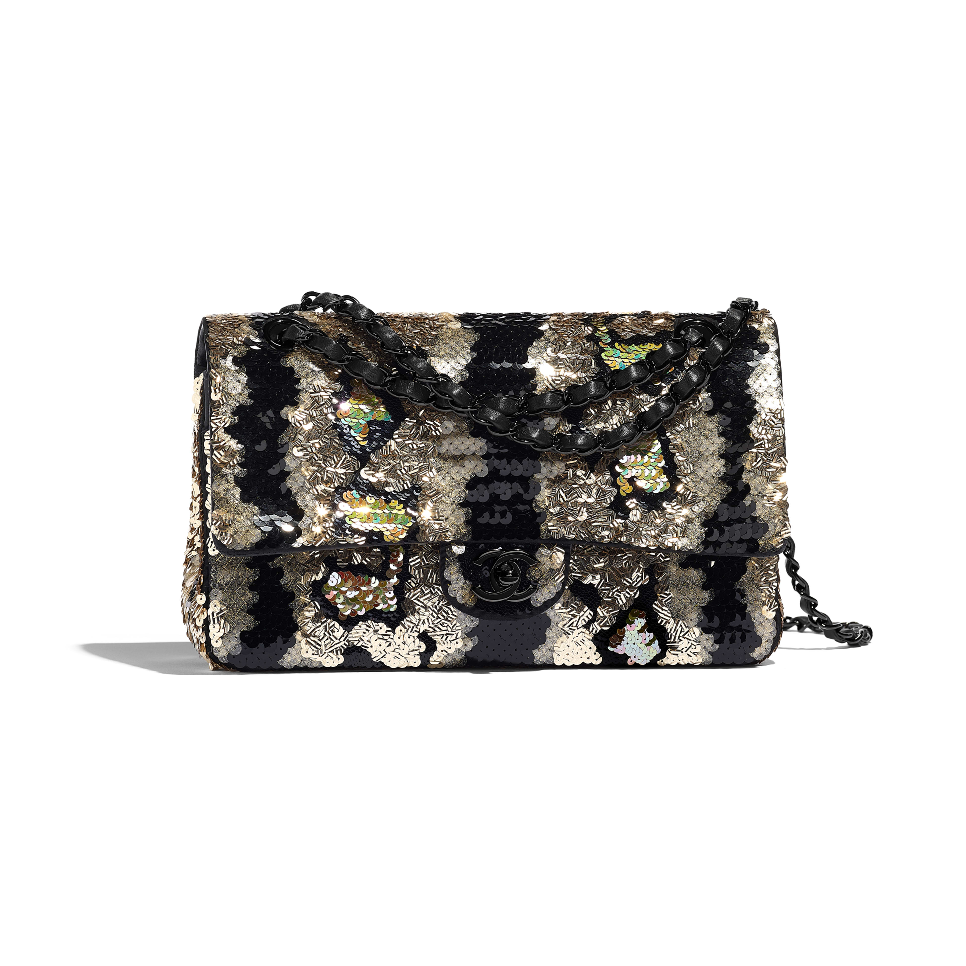 Classic Handbag - Gold & Black - Sequins & Black Metal - Default view - see full sized version