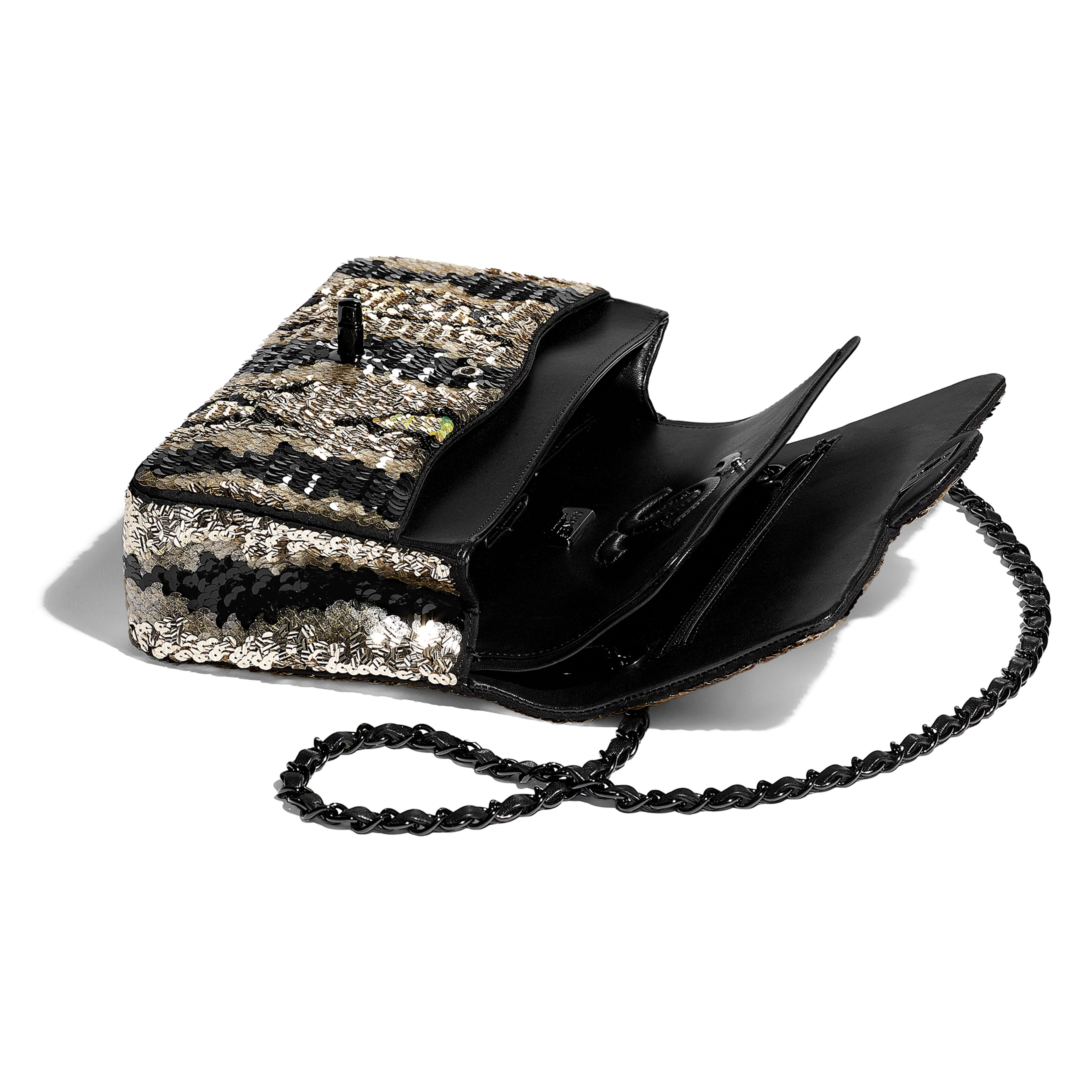 Classic Handbag - Gold & Black - Sequins & Black Metal - Other view - see full sized version