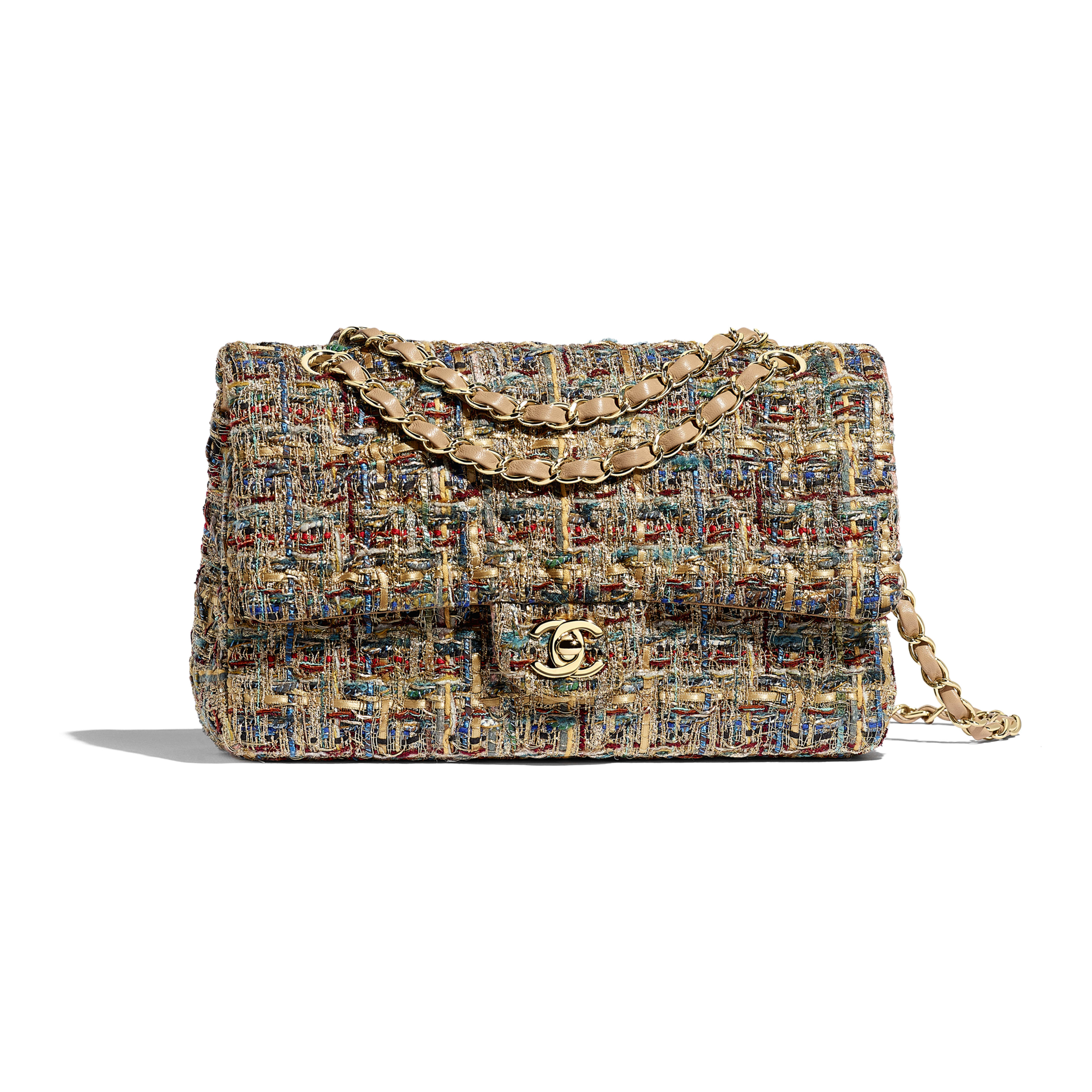 Classic Handbag - Gold, Blue & Green - Tweed & Gold-Tone Metal - Default view - see full sized version
