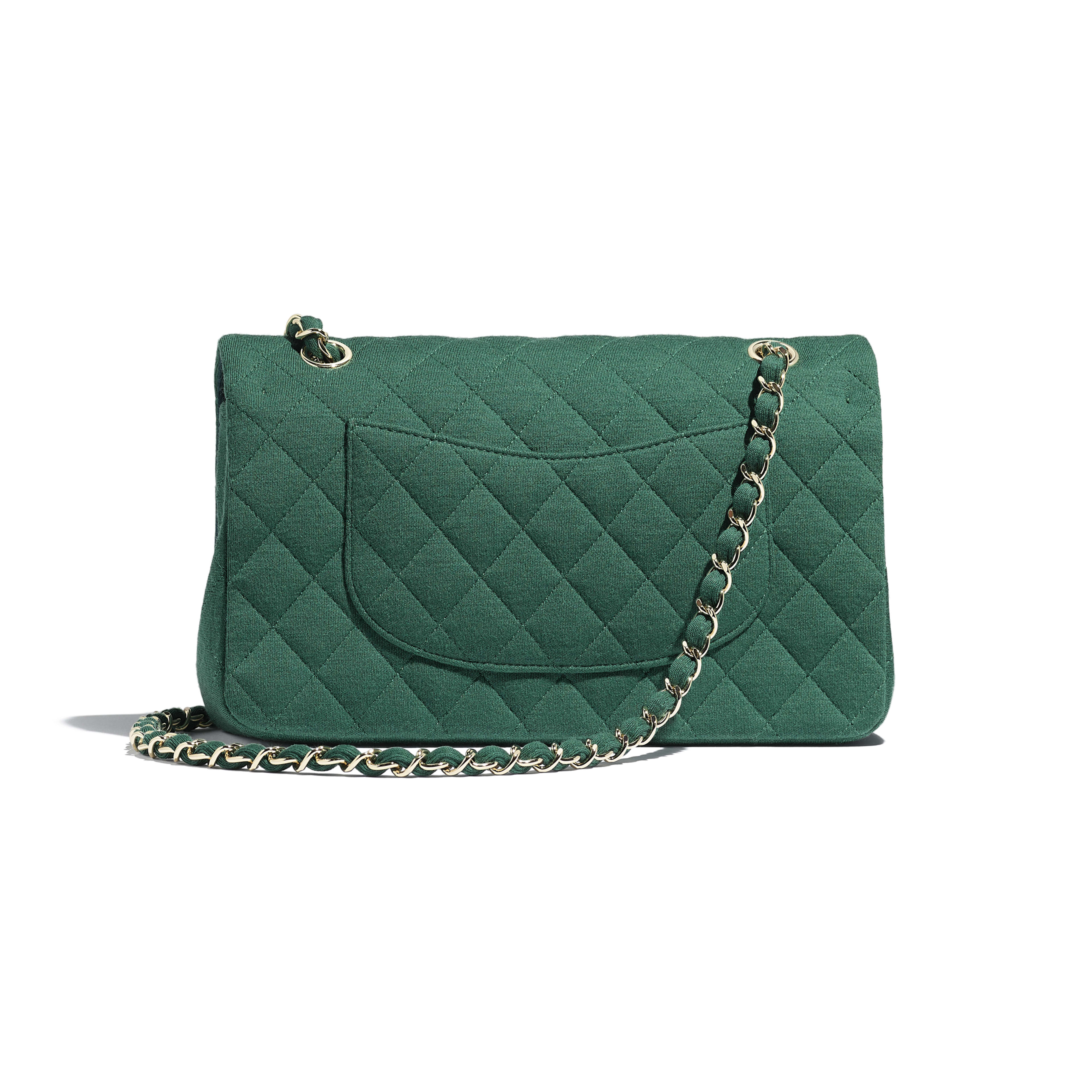 Classic Handbag - Green - Jersey & Gold-Tone Metal - Alternative view - see full sized version