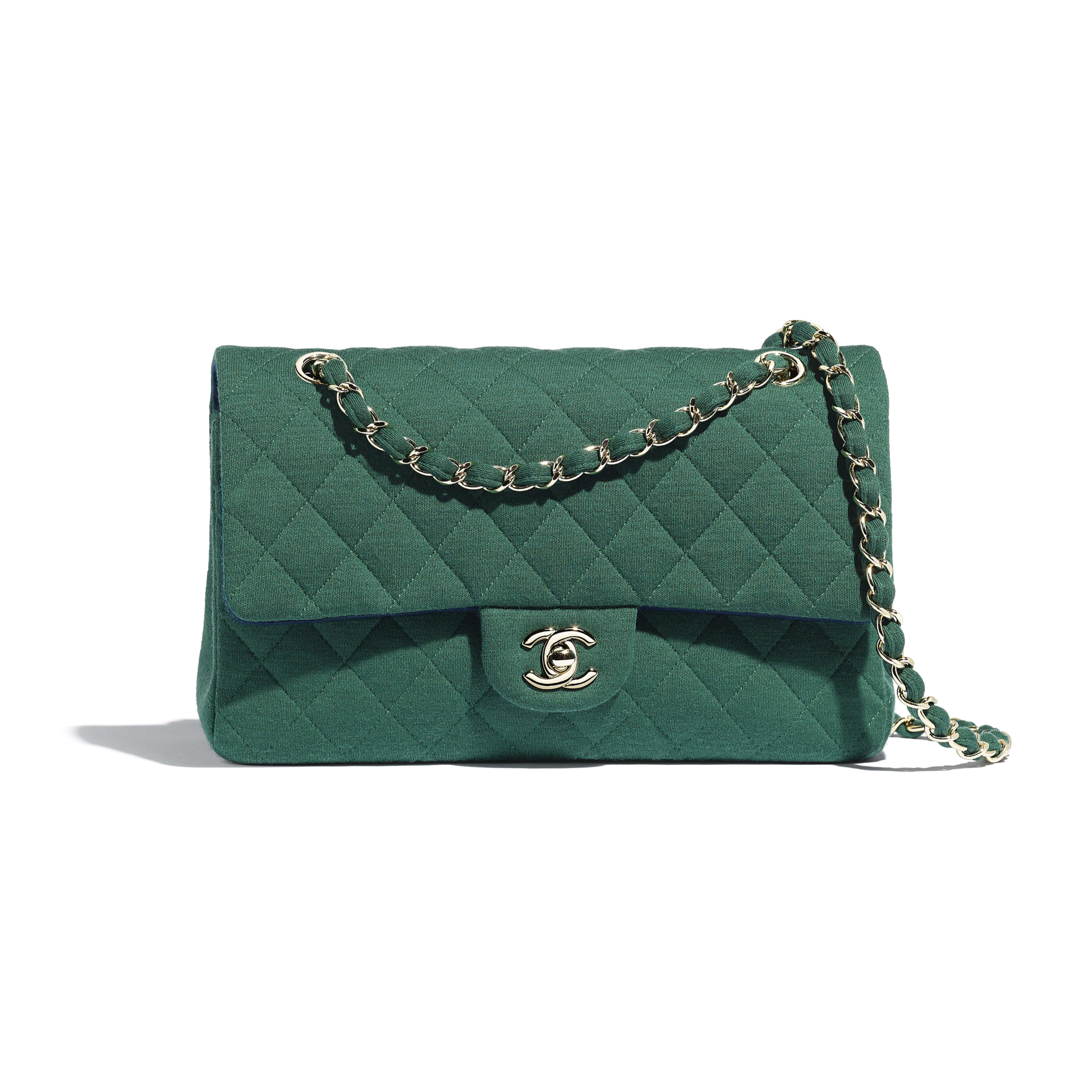 Classic Handbag - Green - Jersey & Gold-Tone Metal - Default view - see full sized version