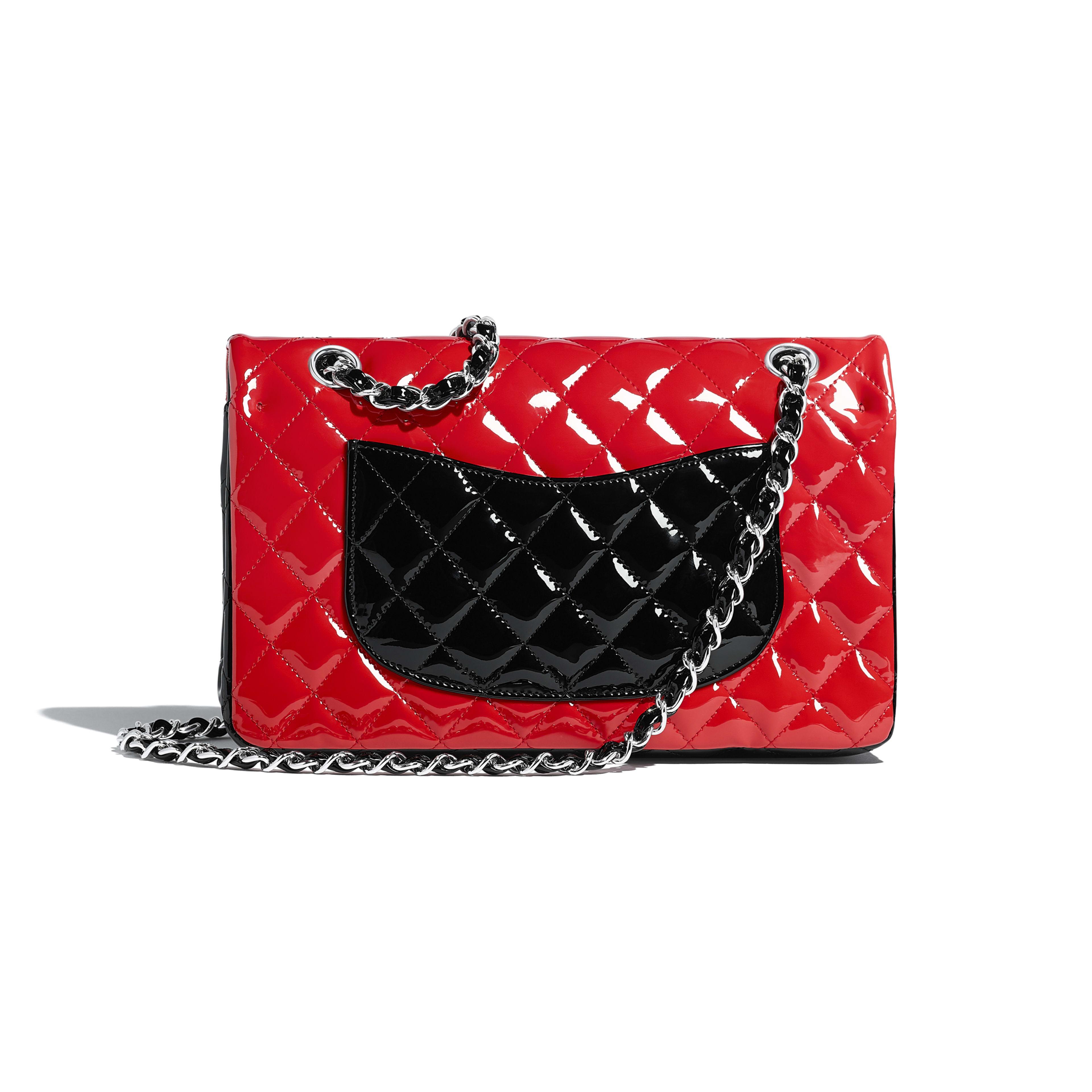Patent Calfskin Silver Tone Metal Red Black Classic Handbag Chanel