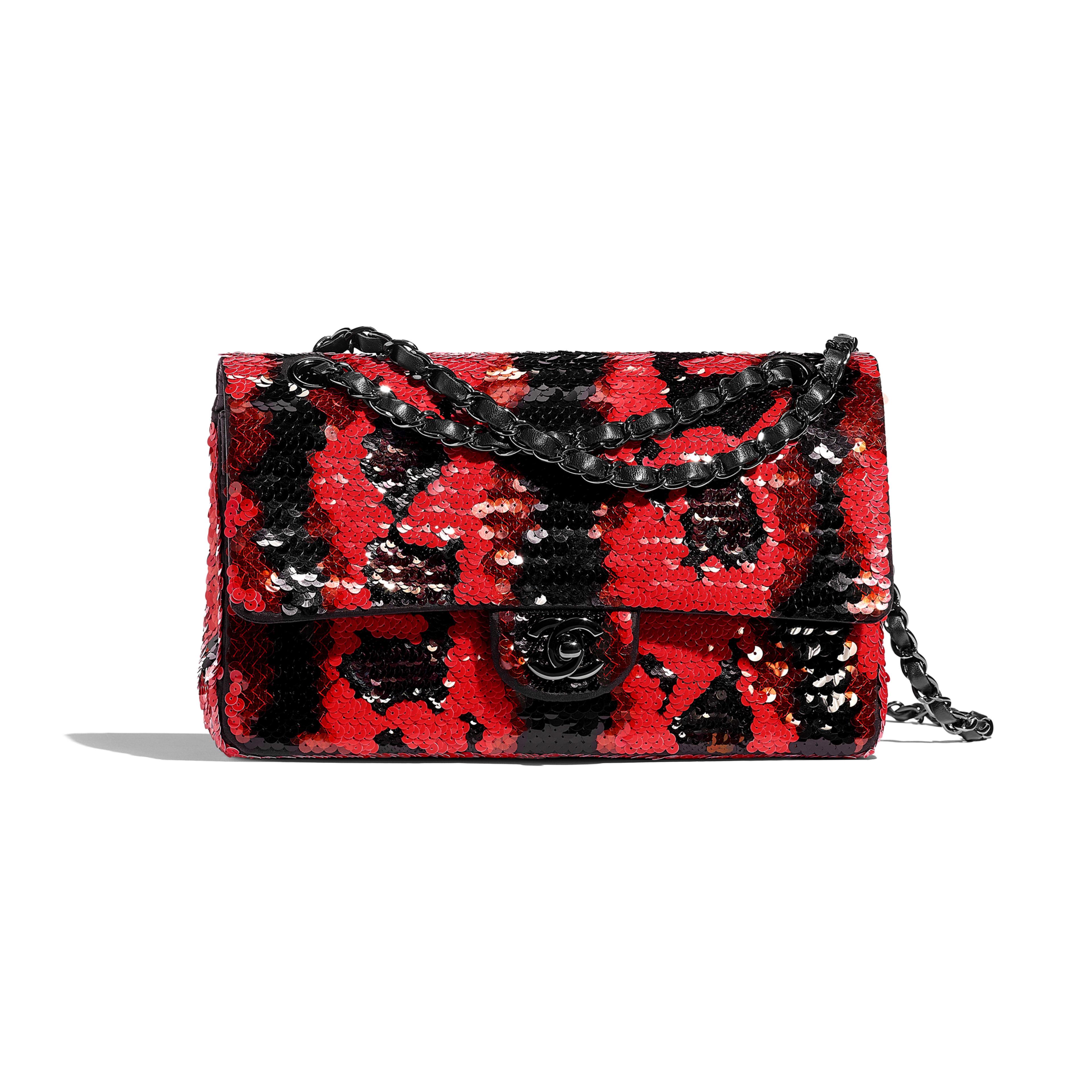 Classic Handbag - Red & Black - Sequins & Black Metal - Default view - see full sized version