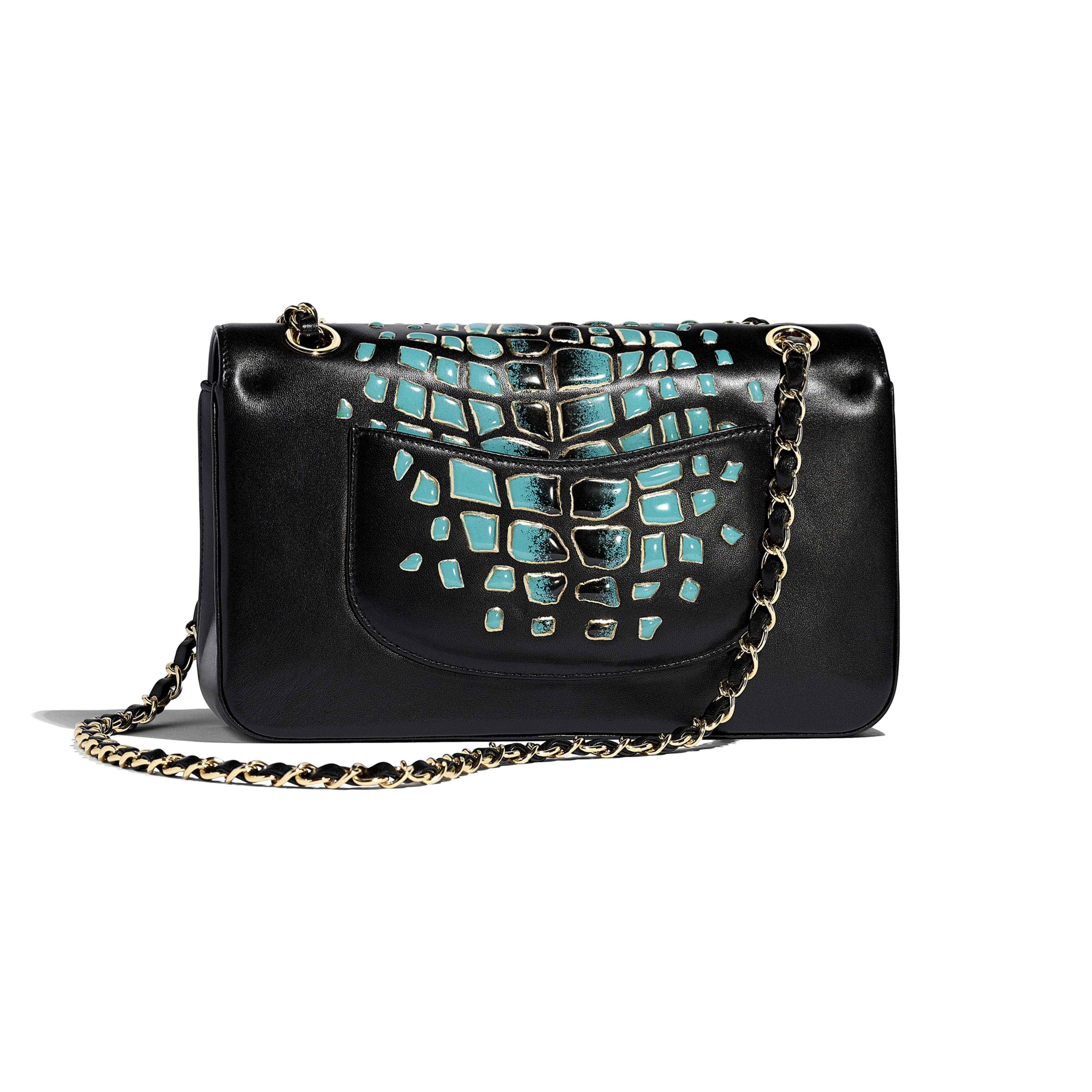 Classic Handbag - Turquoise & Black - Lambskin, Resin & Gold-Tone Metal - Alternative view - see full sized version