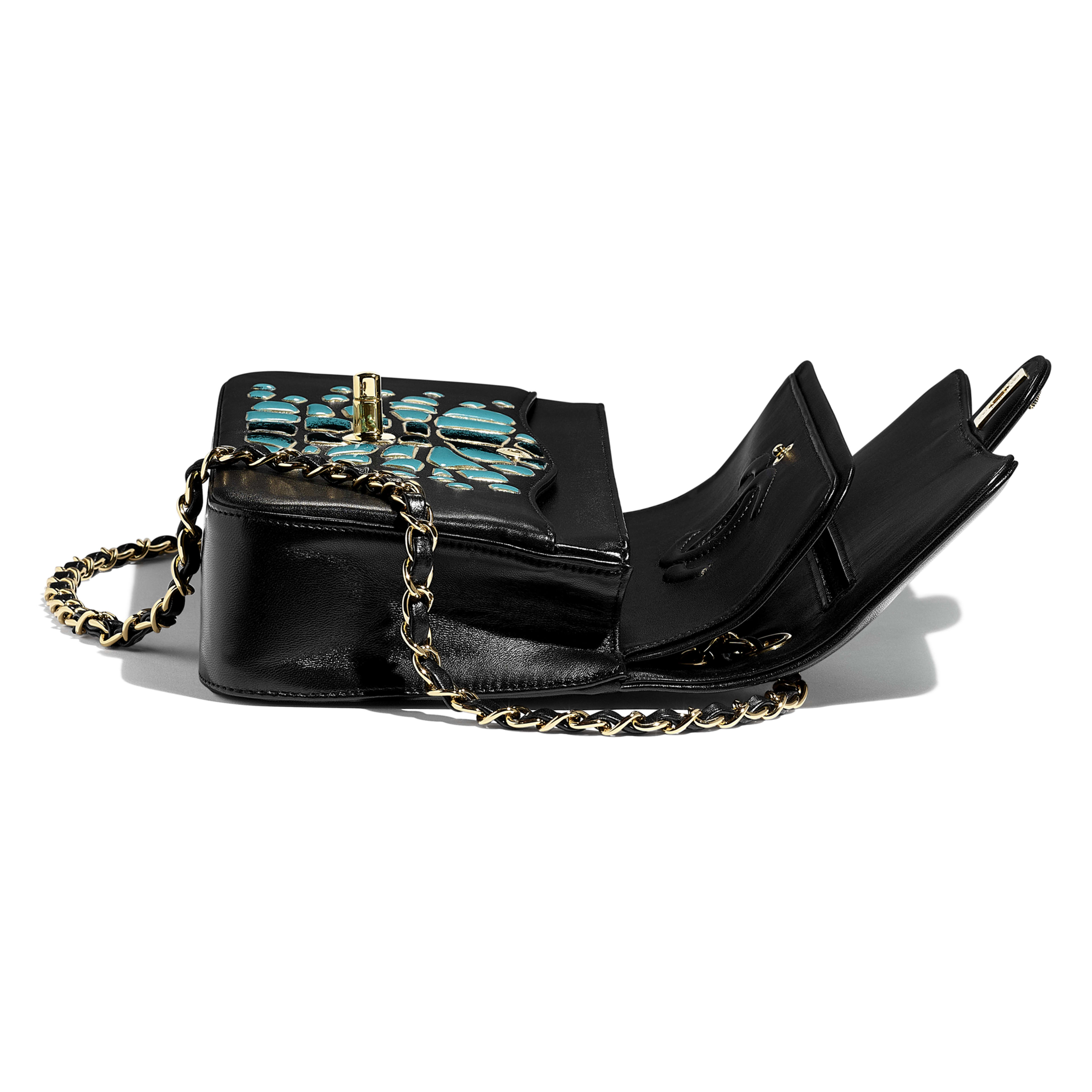 Classic Handbag - Turquoise & Black - Lambskin, Resin & Gold-Tone Metal - Other view - see full sized version