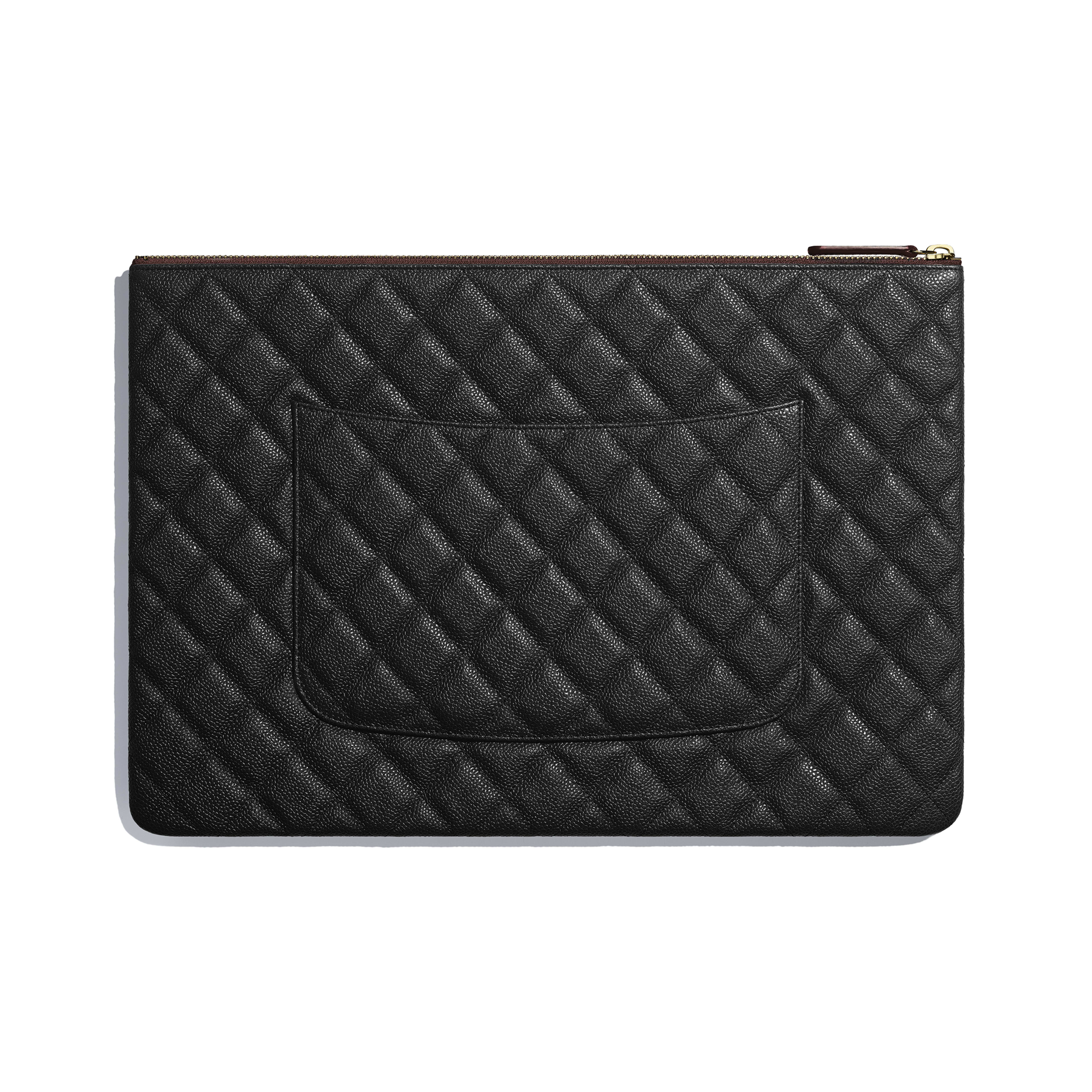 Classic Large Pouch - Black - Grained Calfskin & Gold-Tone Metal - Alternative view - see full sized version