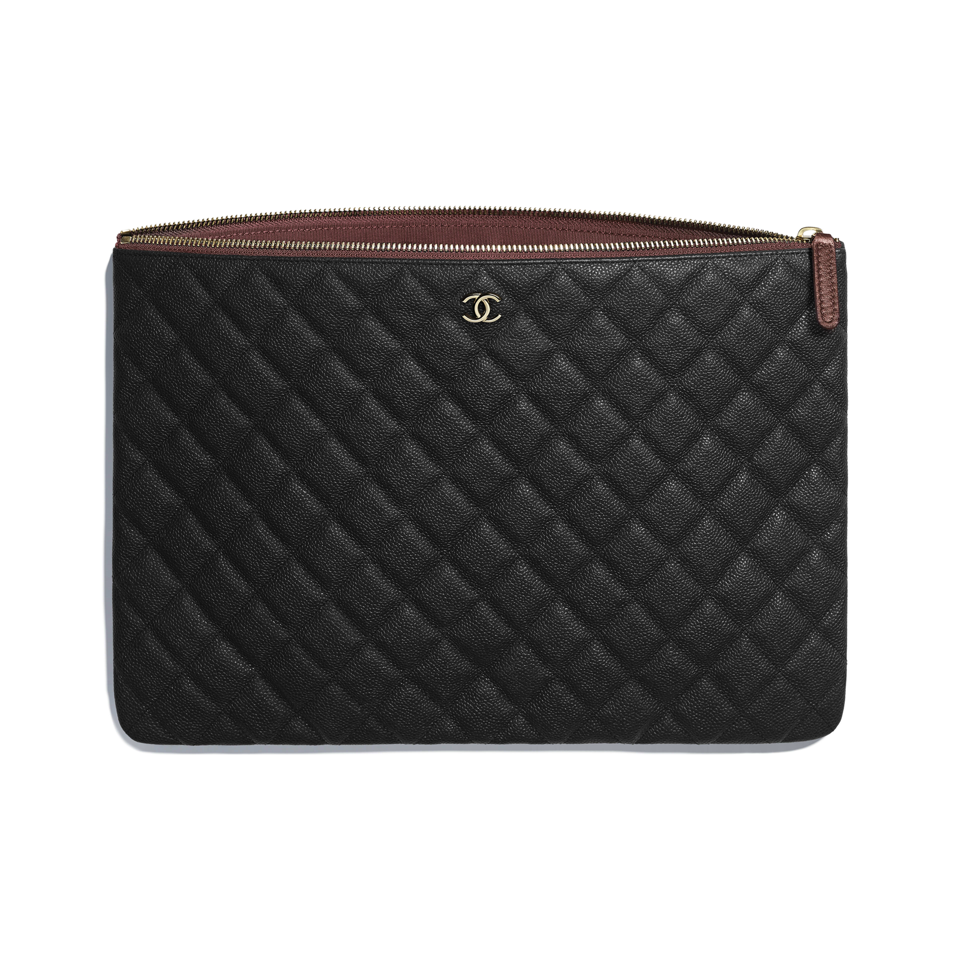 Classic Large Pouch - Black - Grained Calfskin & Gold-Tone Metal - Other view - see full sized version