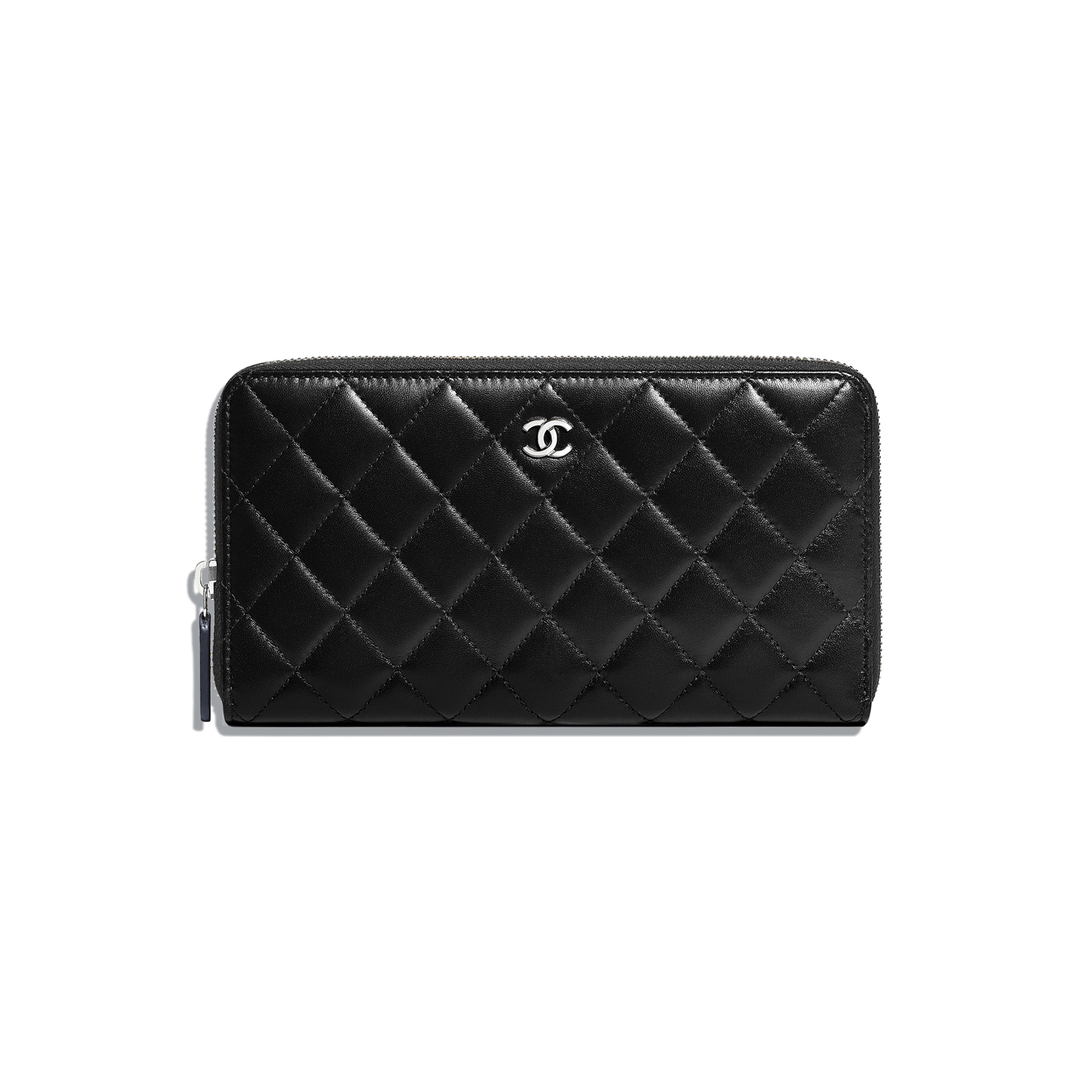 Classic Large Zipped Wallet - Black - Lambskin - Default view - see full sized version