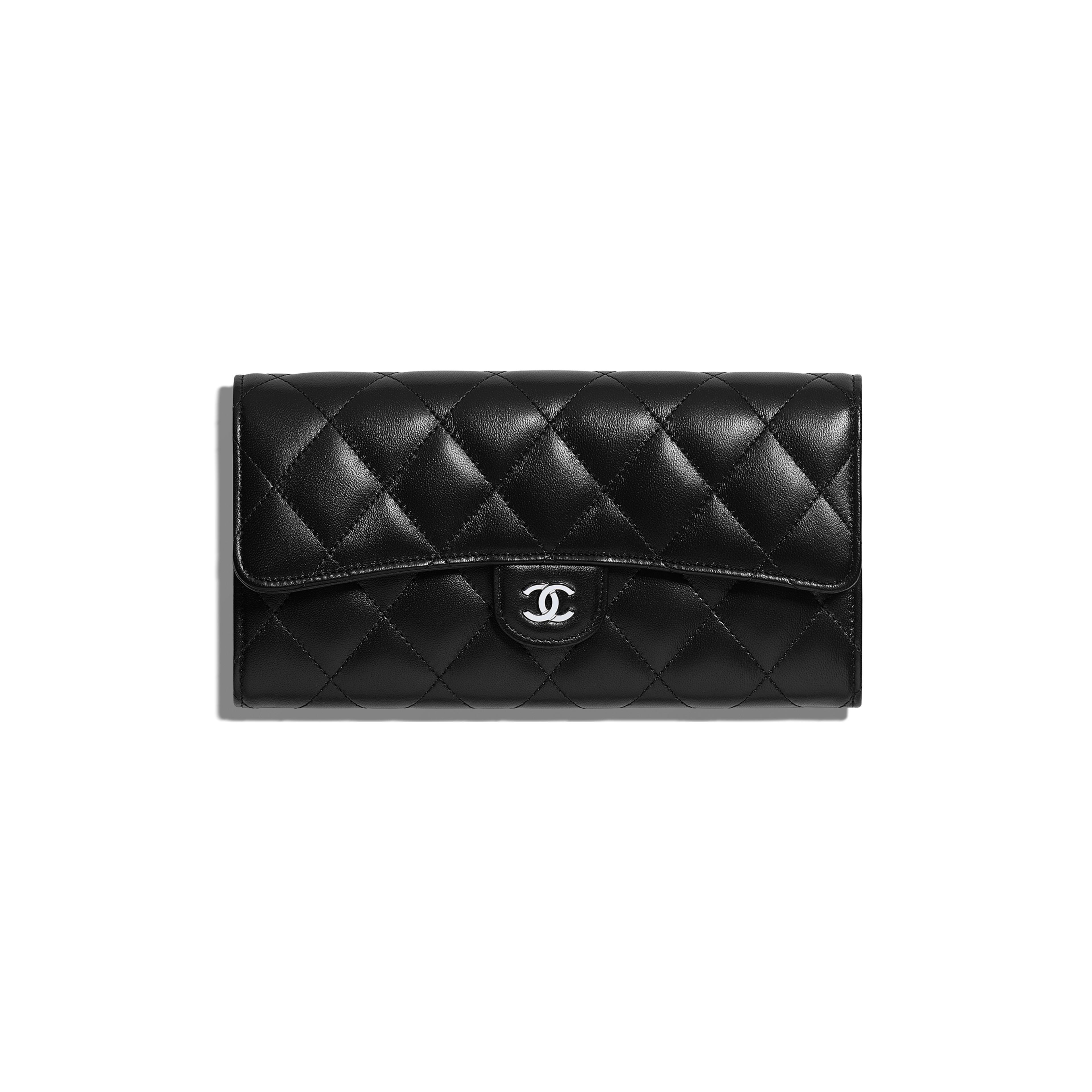 b19f4c52aa70 Classic Long Flap Wallet - Black - Lambskin   Silver-Tone Metal - Default  view ...