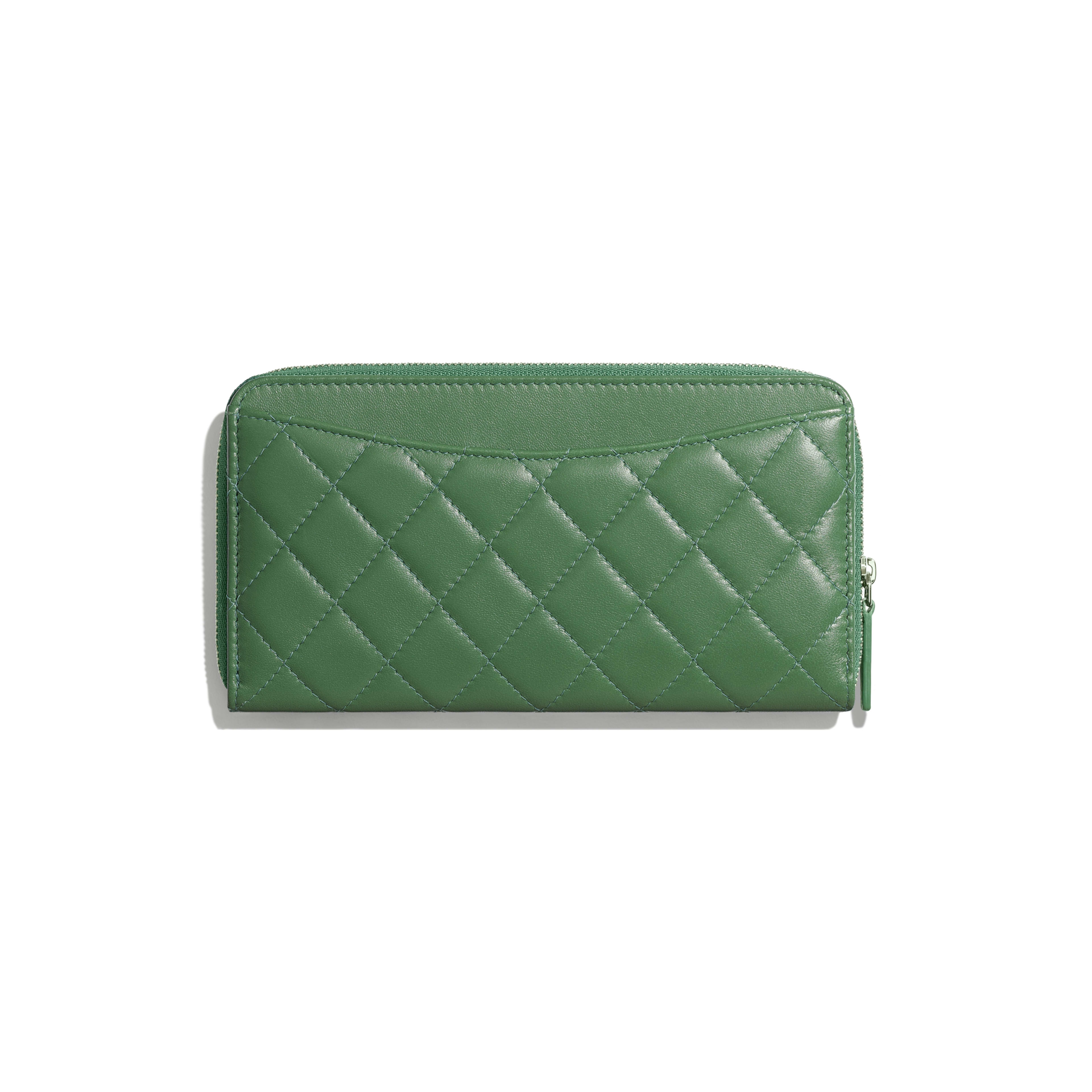 Classic Long Zipped Wallet - Green - Lambskin - Alternative view - see full sized version