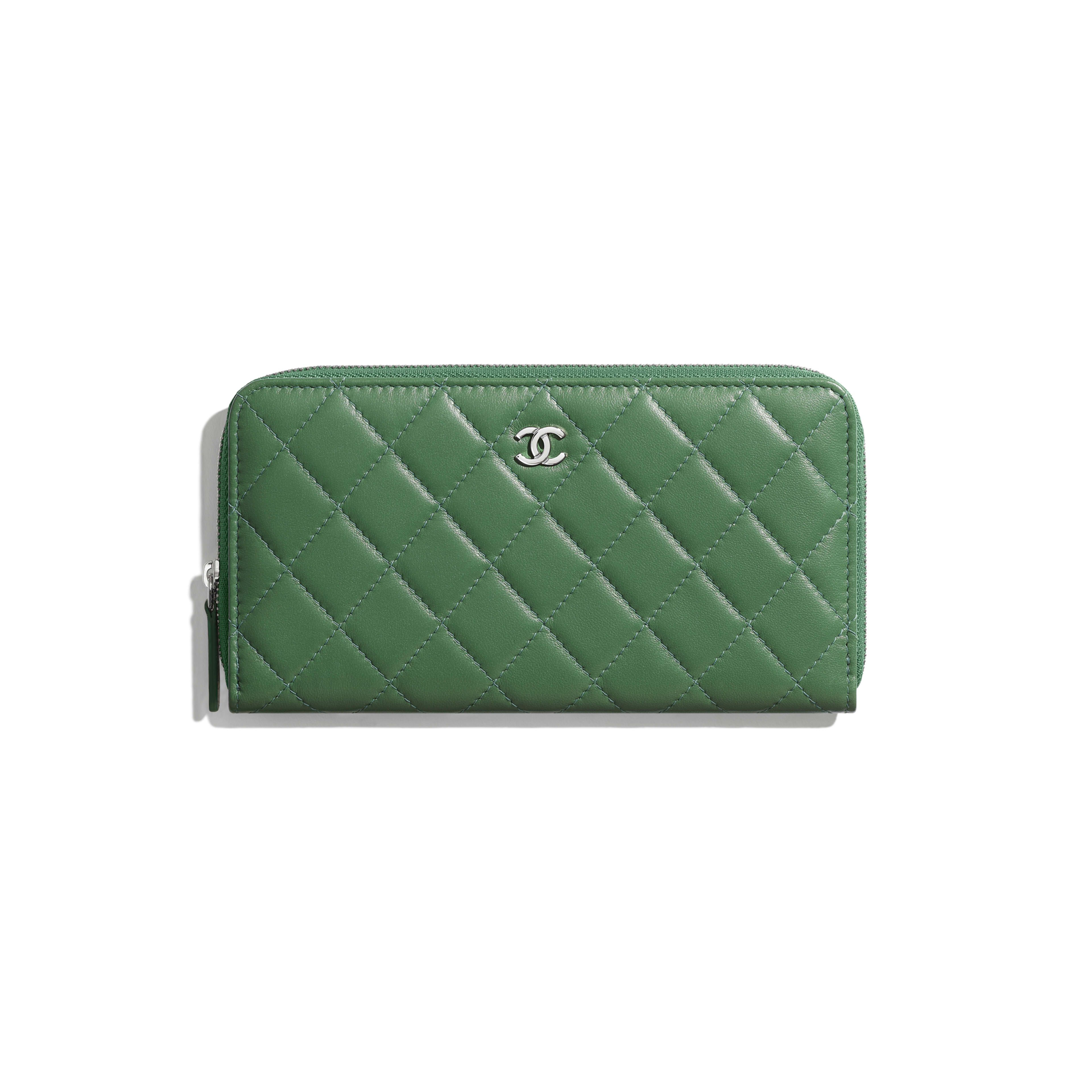 Classic Long Zipped Wallet - Green - Lambskin - Default view - see full sized version