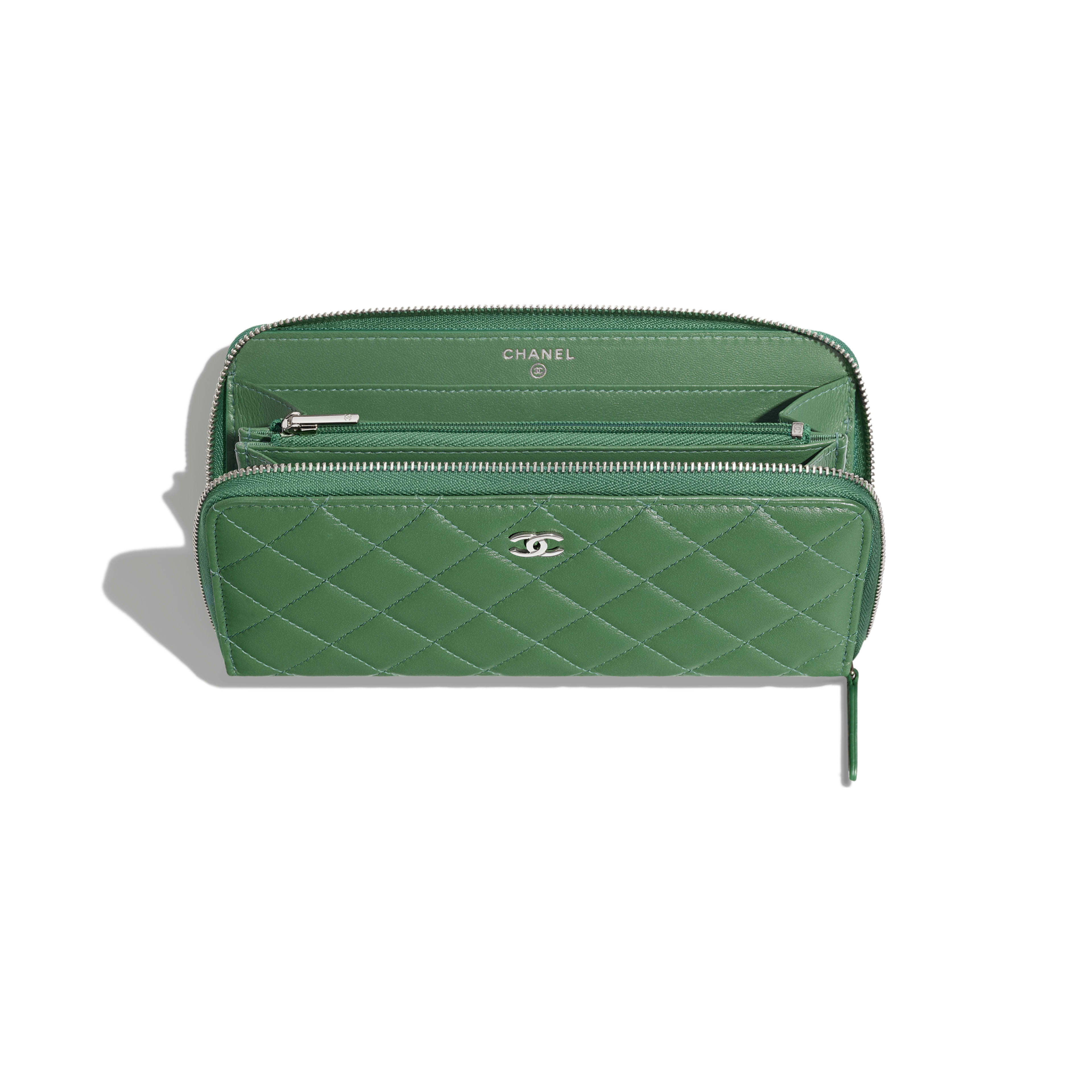 Classic Long Zipped Wallet - Green - Lambskin - Other view - see full sized version