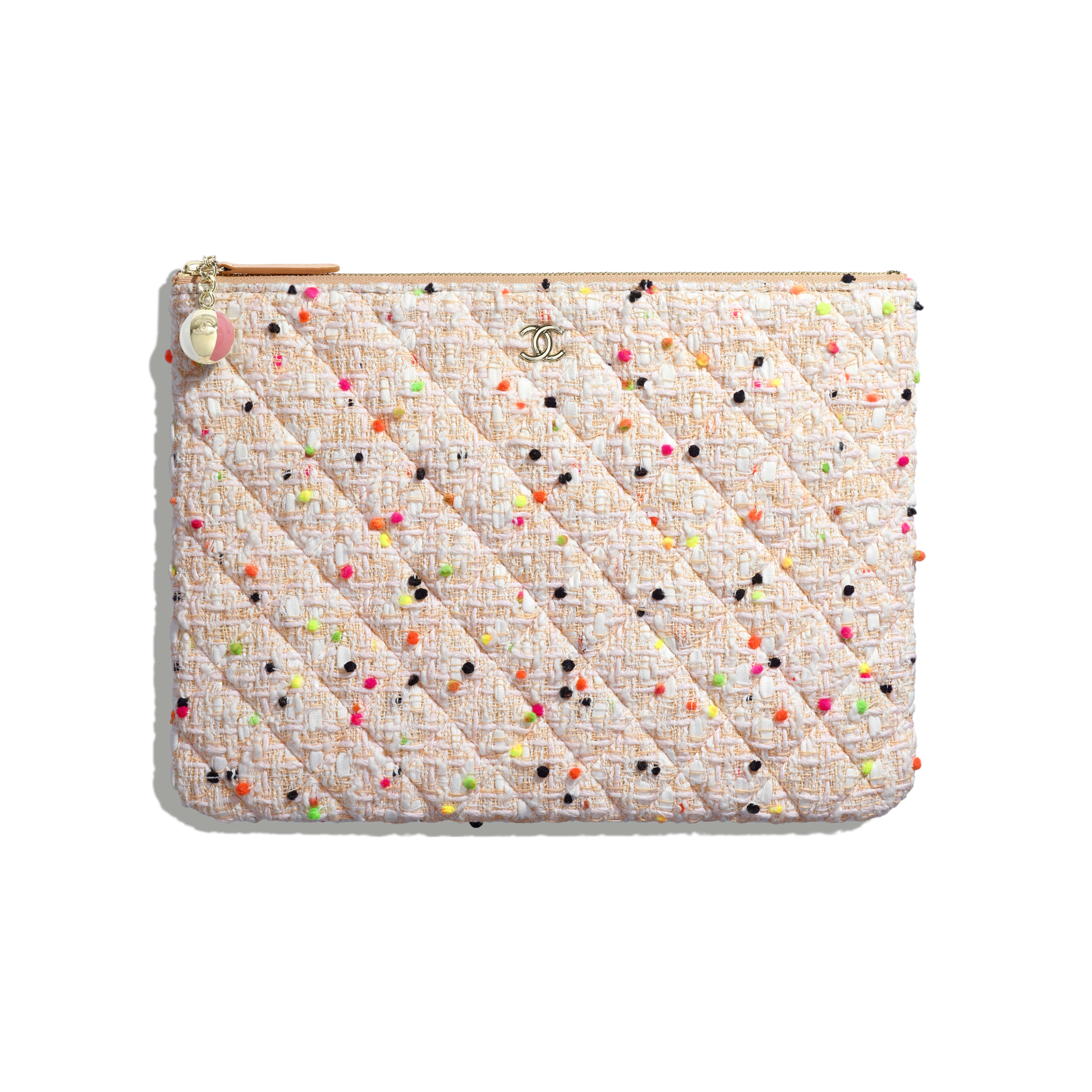 Classic Pouch - Coral & White - Cotton Tweed & Gold-Tone Metal - Default view - see full sized version