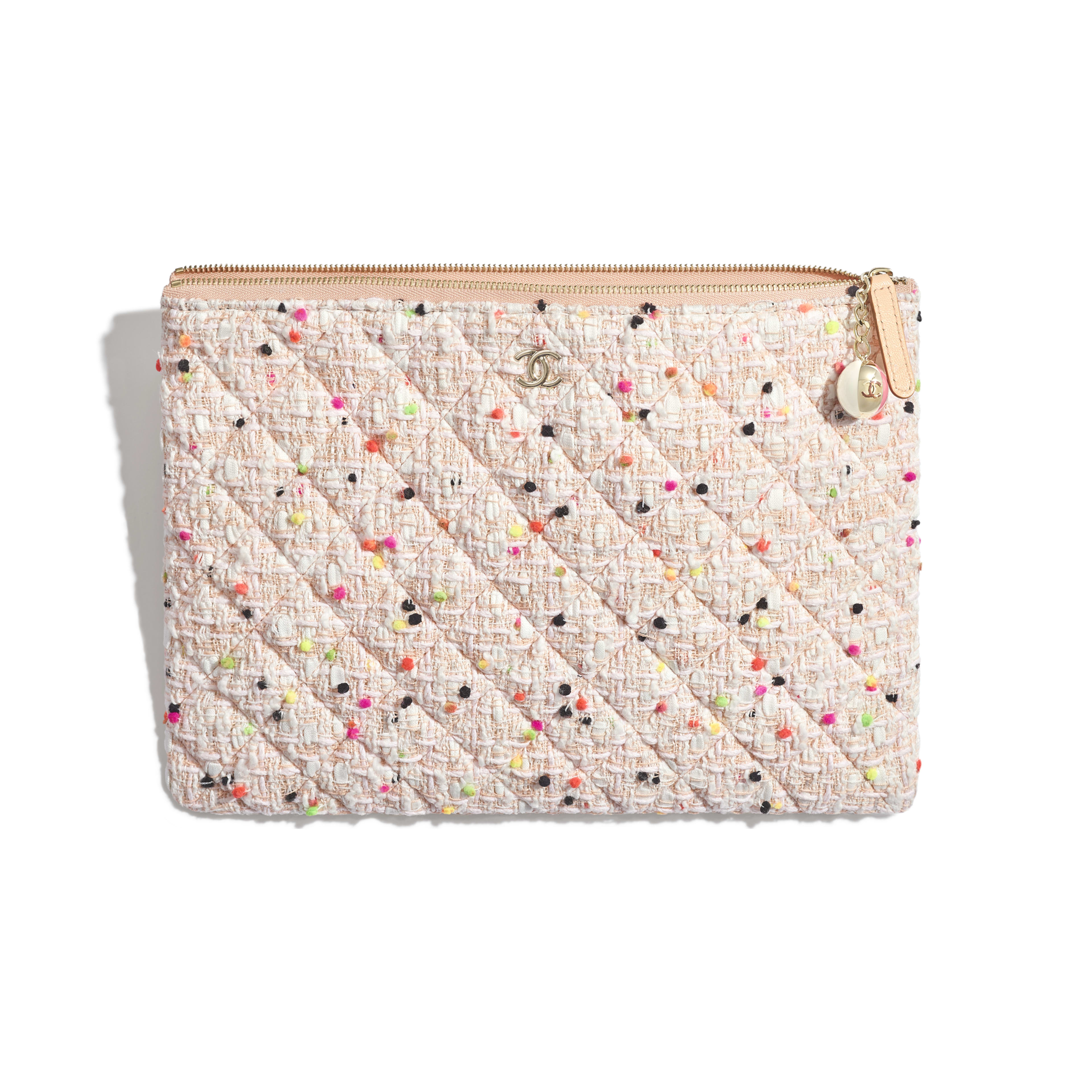 Classic Pouch - Coral & White - Cotton Tweed & Gold-Tone Metal - Other view - see full sized version
