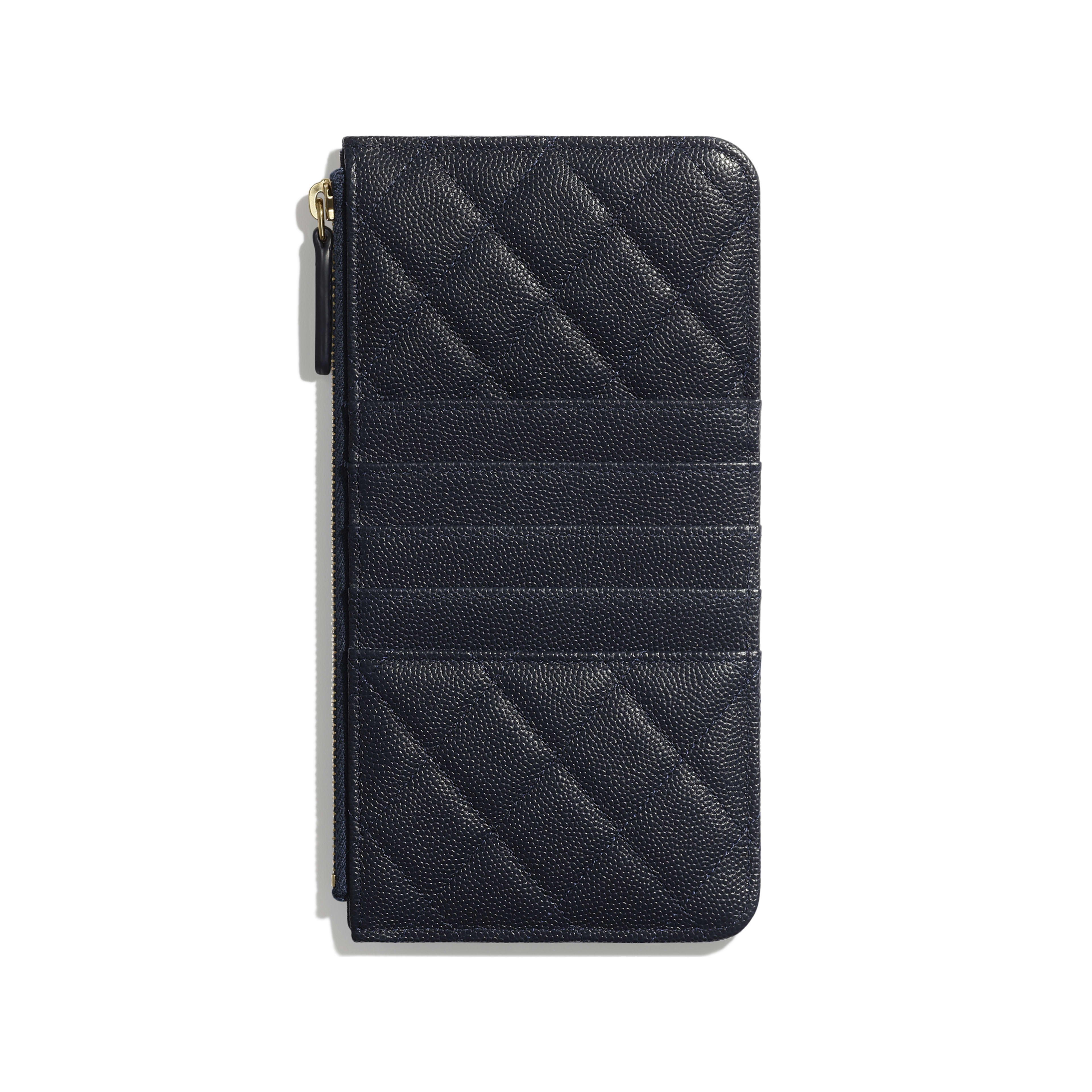 Classic Pouch for iPhone - Navy Blue - Grained Calfskin & Gold-Tone Metal - Alternative view - see full sized version