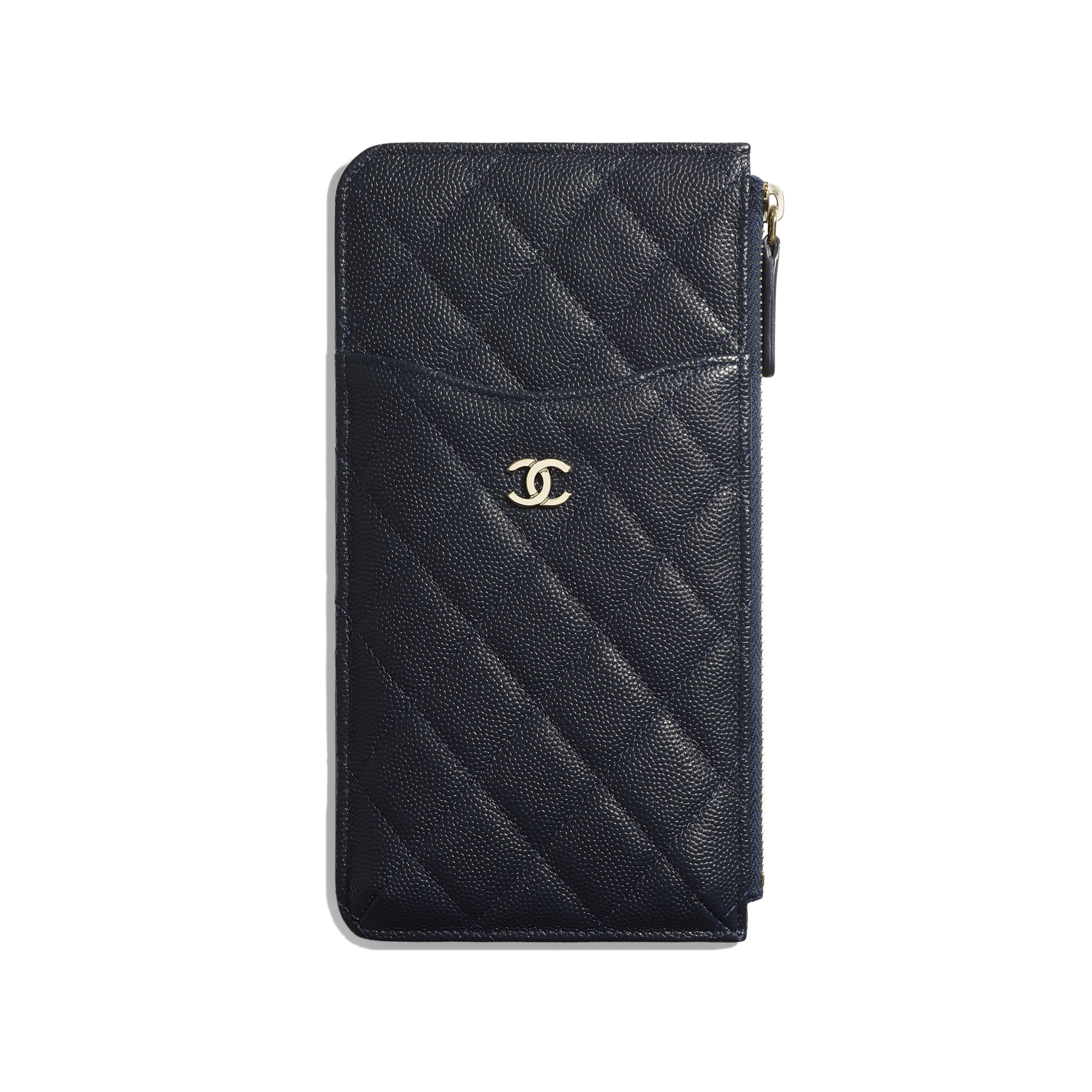 Classic Pouch for iPhone - Navy Blue - Grained Calfskin & Gold-Tone Metal - Default view - see full sized version