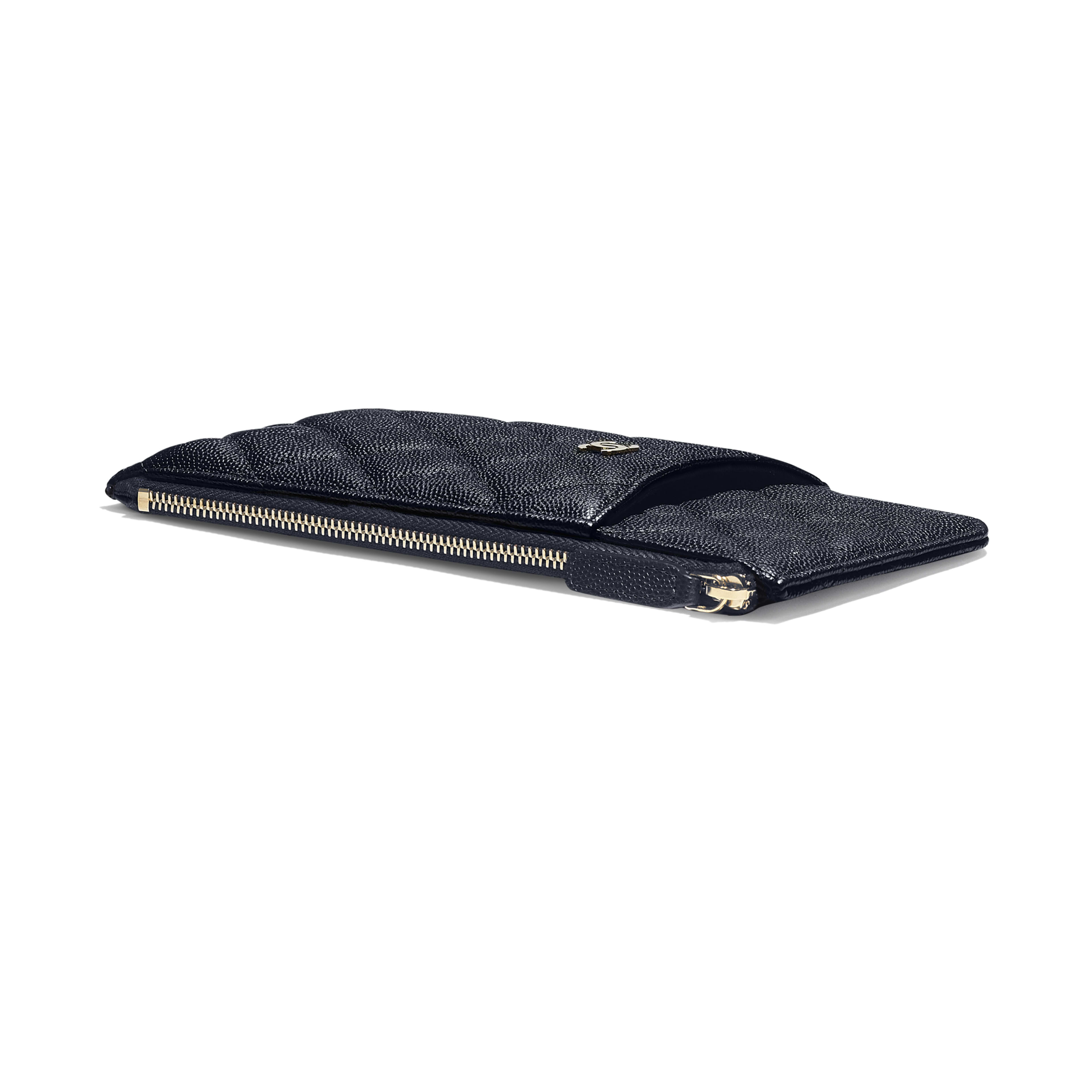 Classic Pouch for iPhone - Navy Blue - Grained Calfskin & Gold-Tone Metal - Extra view - see full sized version