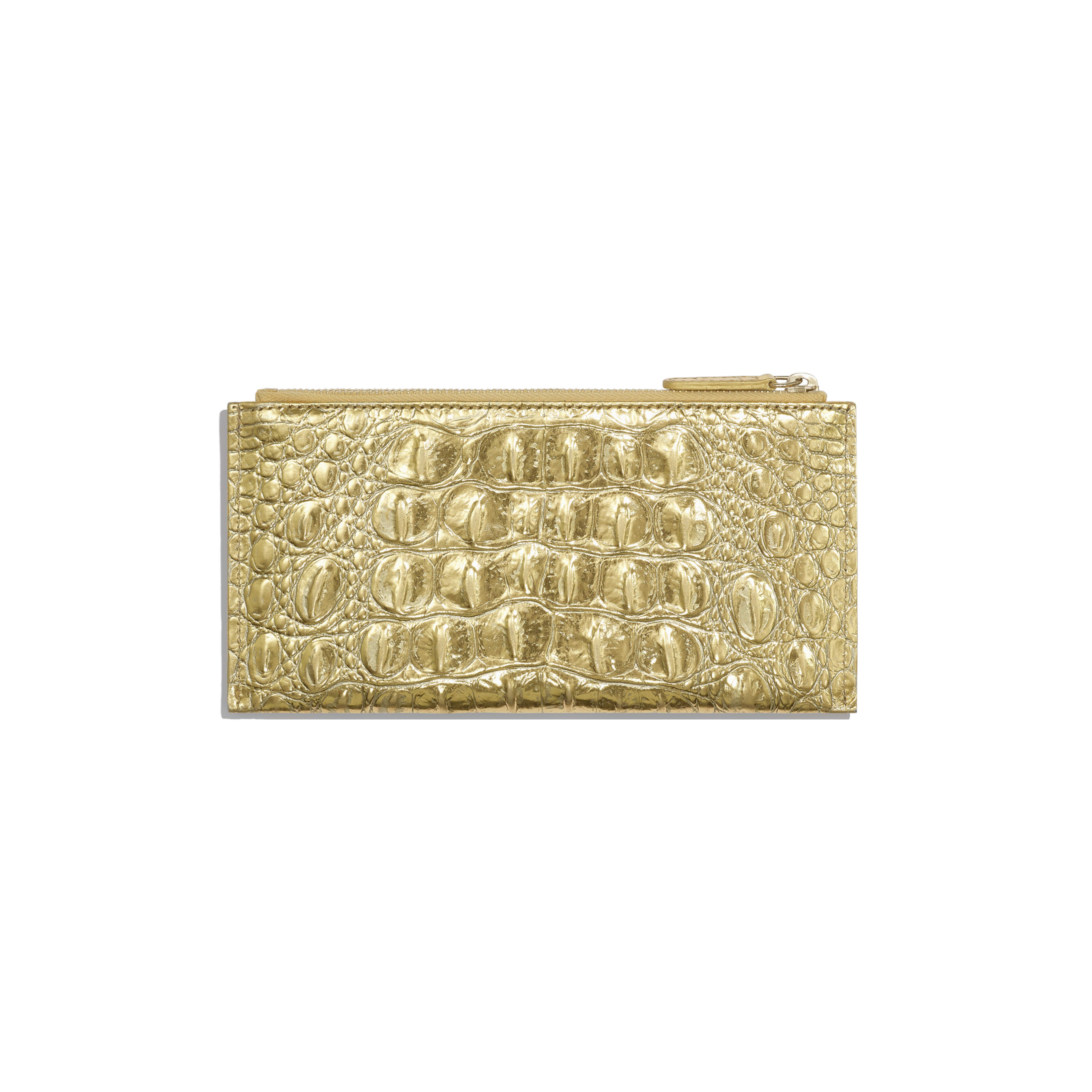 Classic Pouch - Gold - Metallic Crocodile Embossed Calfskin & Gold Metal - Alternative view - see full sized version