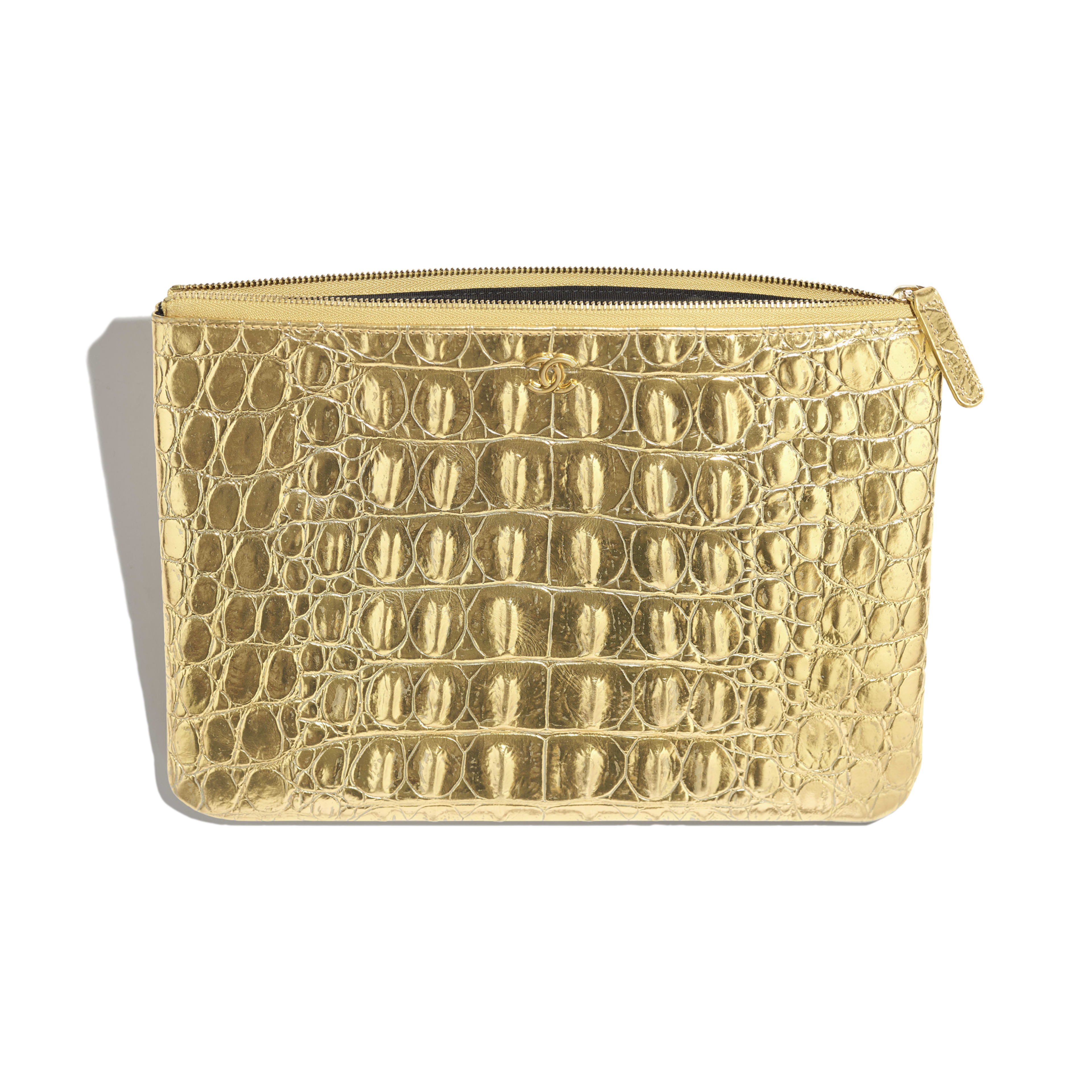 Classic Pouch - Gold - Metallic Crocodile Embossed Calfskin & Gold Metal - Other view - see full sized version