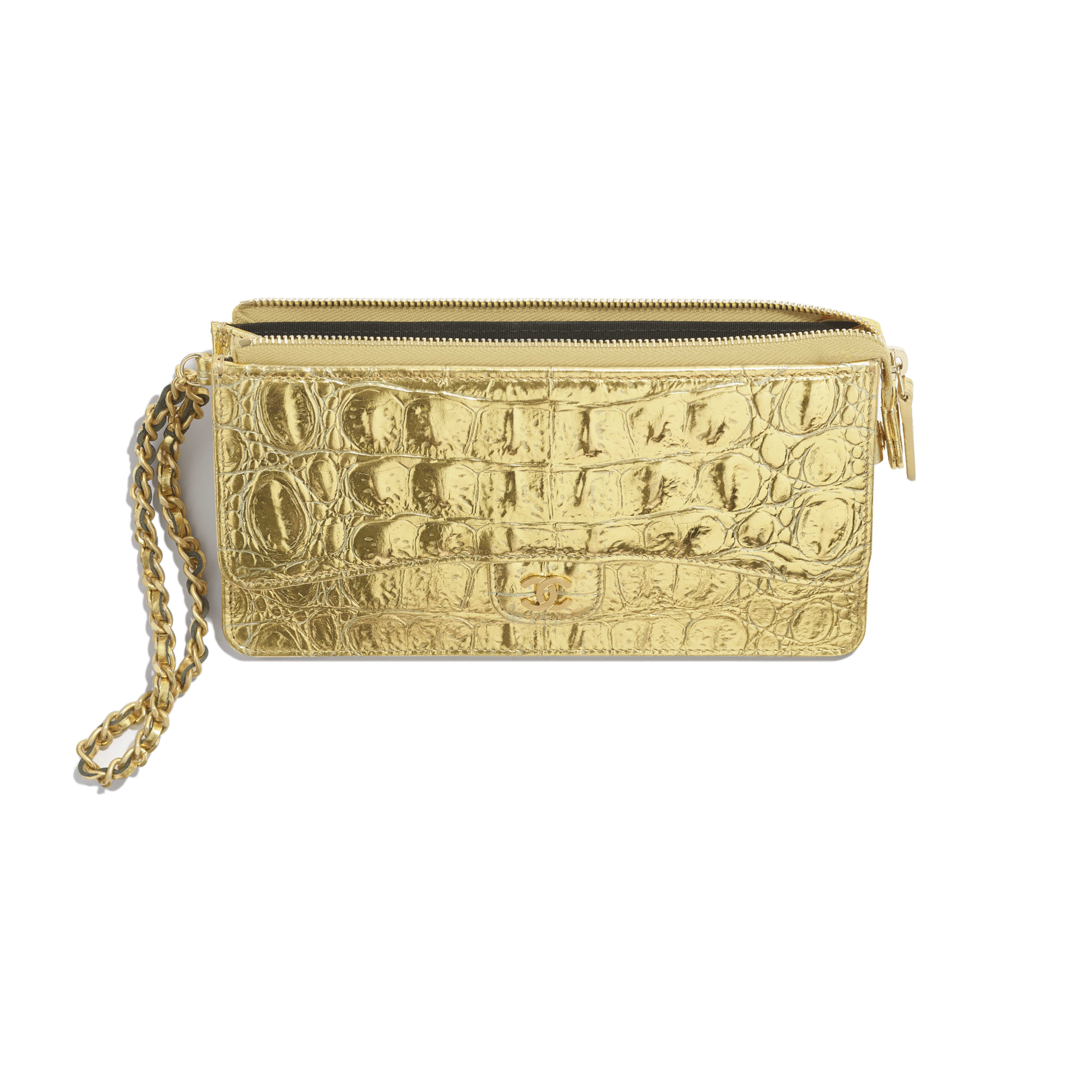 Classic Pouch with Handle - Gold - Metallic Crocodile Embossed Calfskin & Gold Metal - Other view - see full sized version