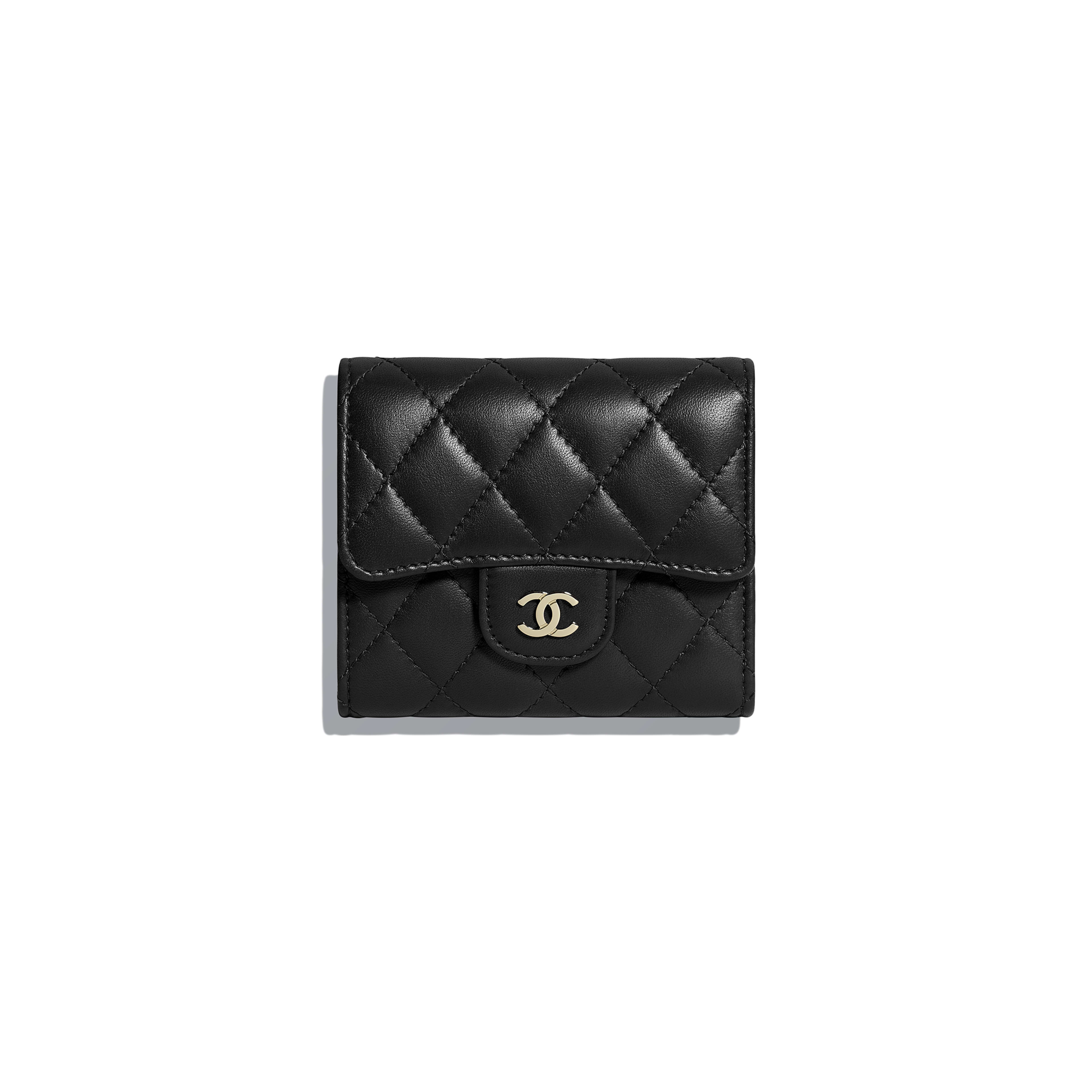 Classic Small Flap Wallet - Black - Lambskin - Default view - see full sized version