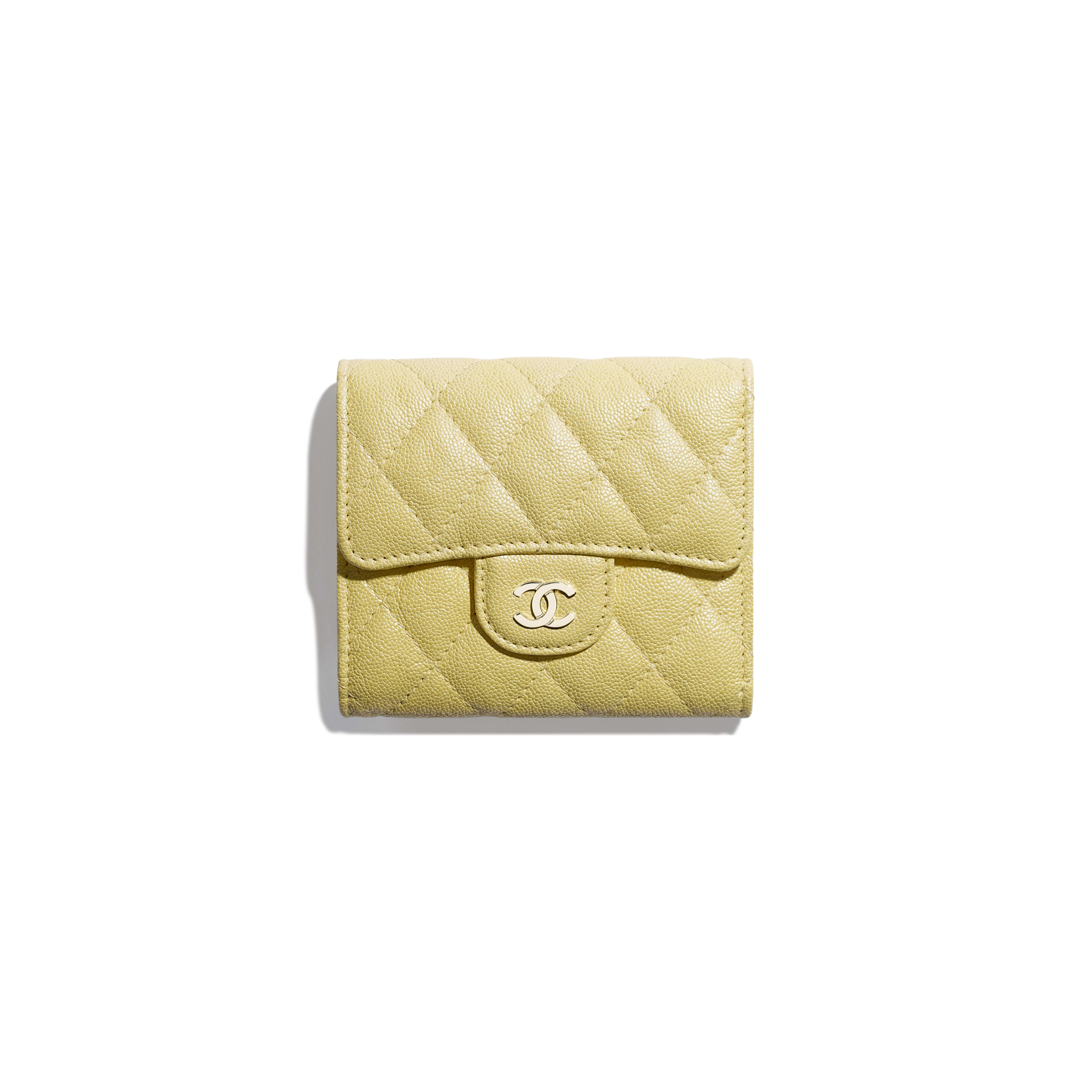 8f549018a5 Classic Small Flap Wallet - Yellow - Iridescent Grained Calfskin   Gold-Tone  Metal ...