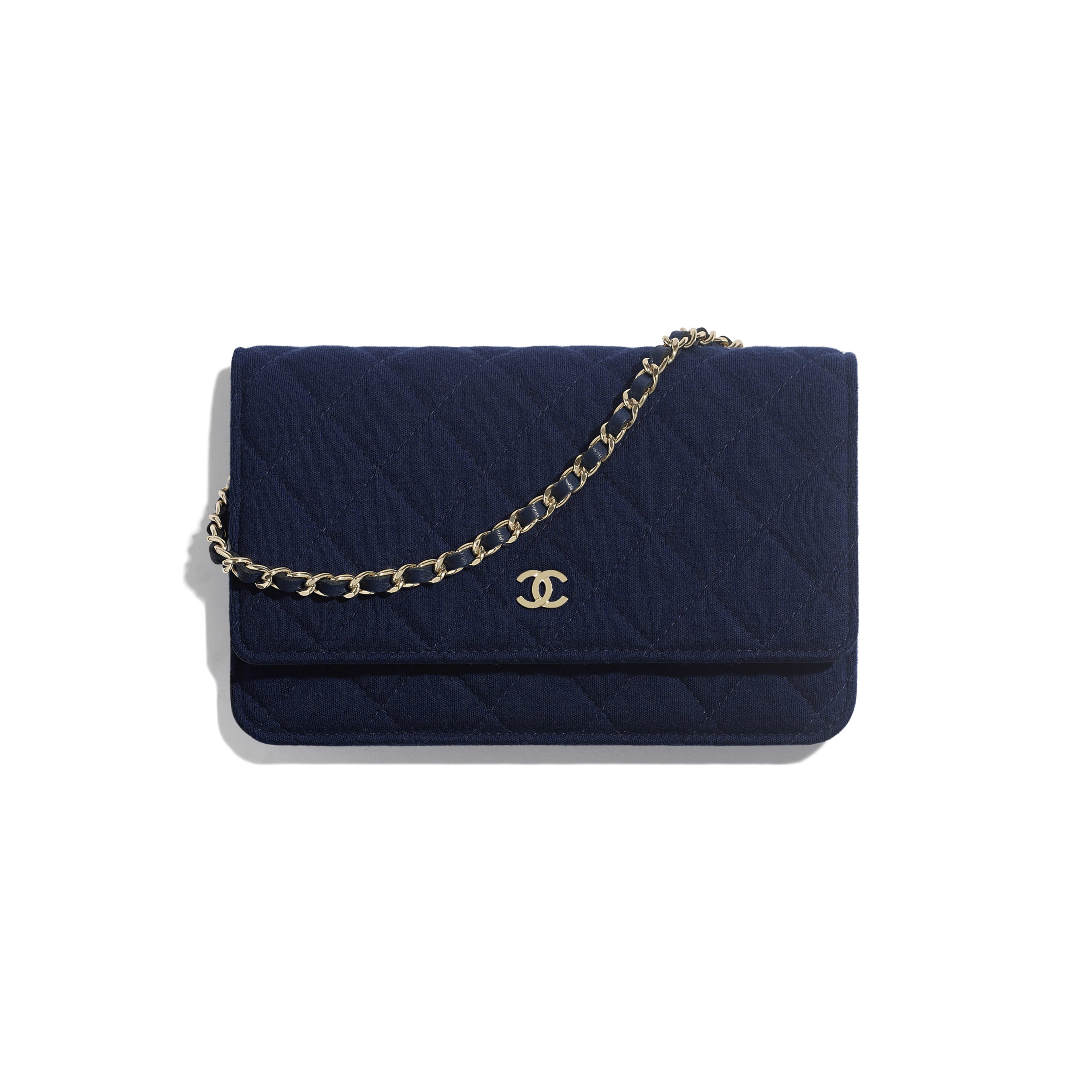 Classic Wallet On Chain - Navy Blue - Jersey & Gold Metal - Default view - see full sized version