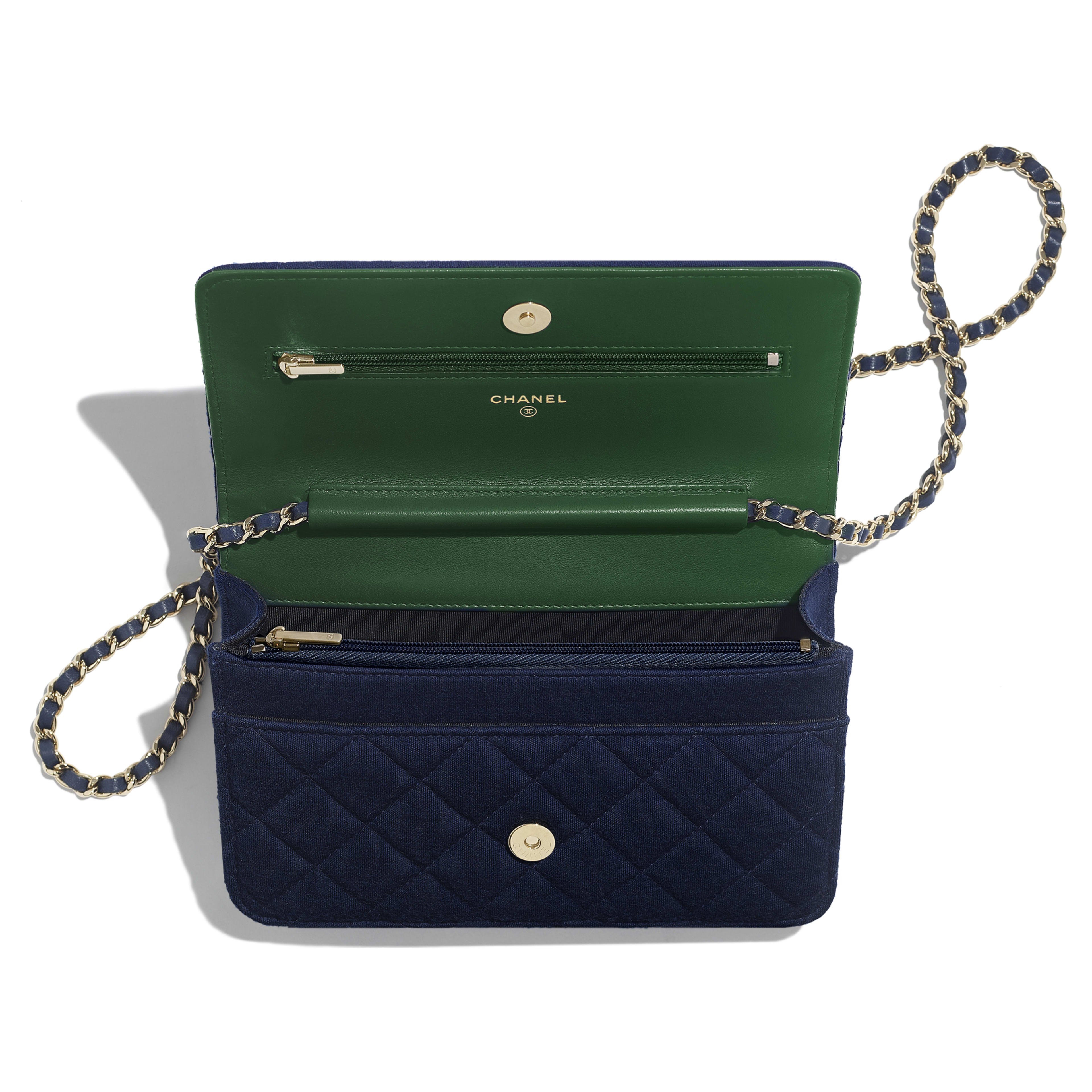 Classic Wallet On Chain - Navy Blue - Jersey & Gold Metal - Other view - see full sized version