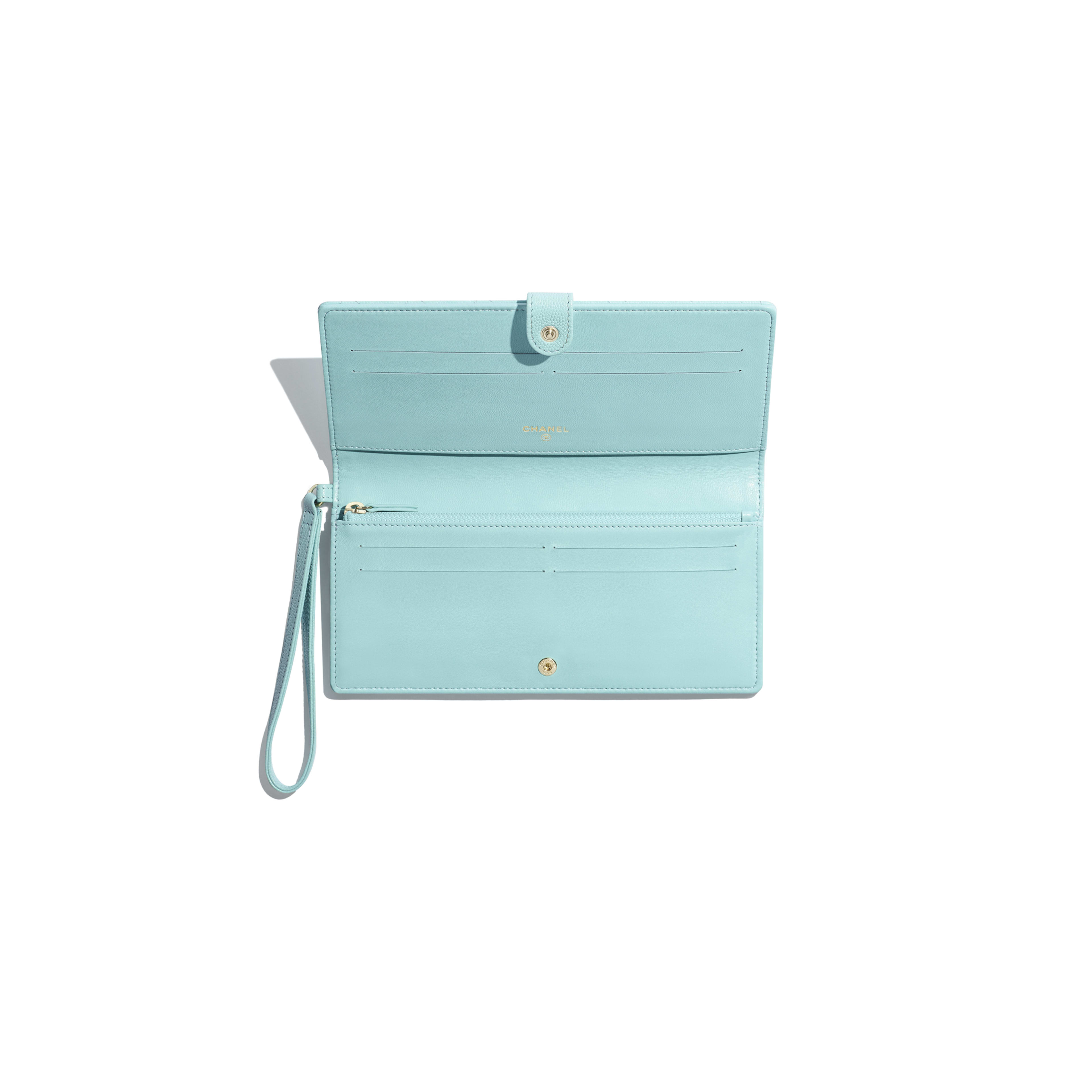 348be0934062e2 Classic Wallet with Handle - Light Blue - Grained Calfskin & Gold-Tone Metal  ...