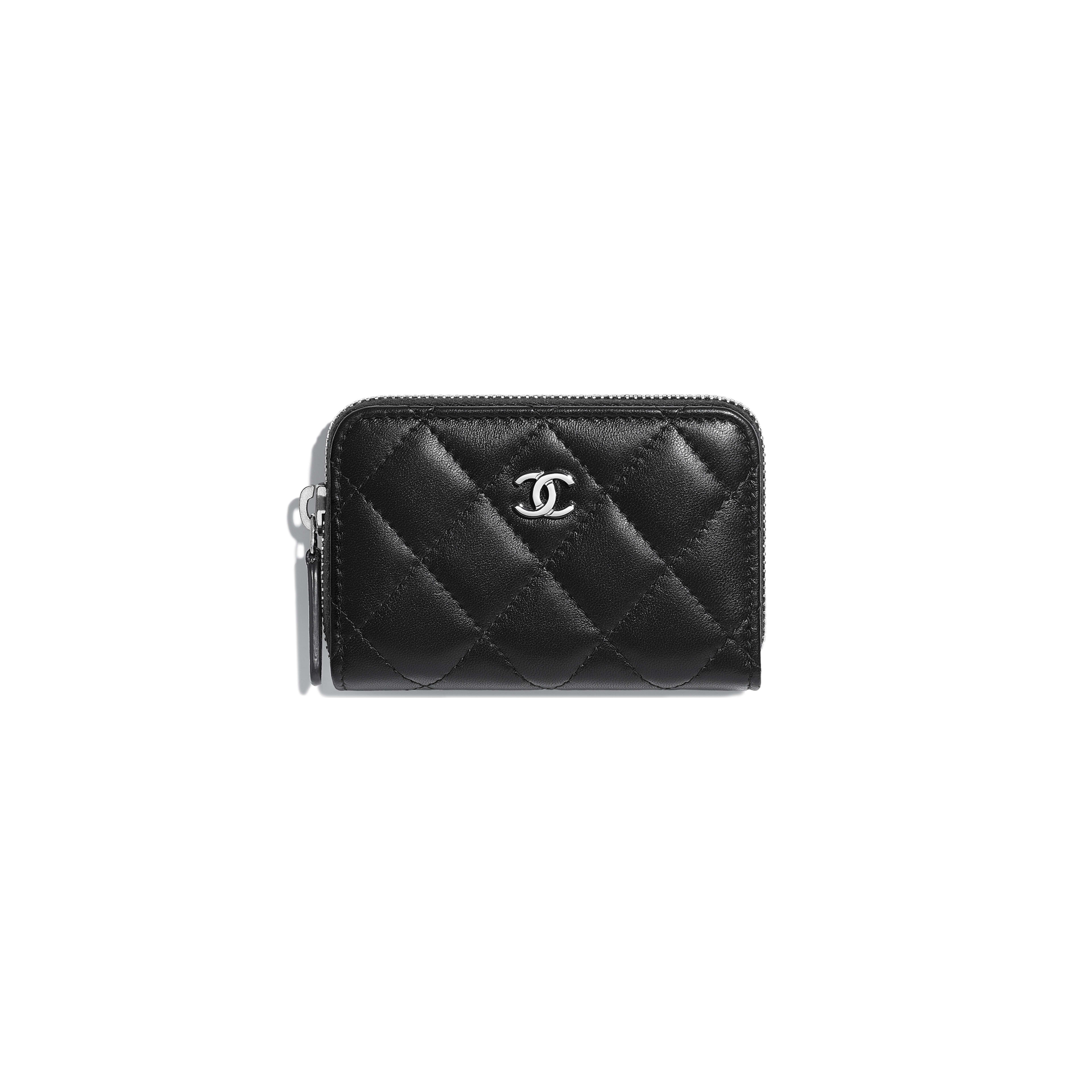 Classic Zipped Card Holder - Black - Lambskin - Default view - see full sized version