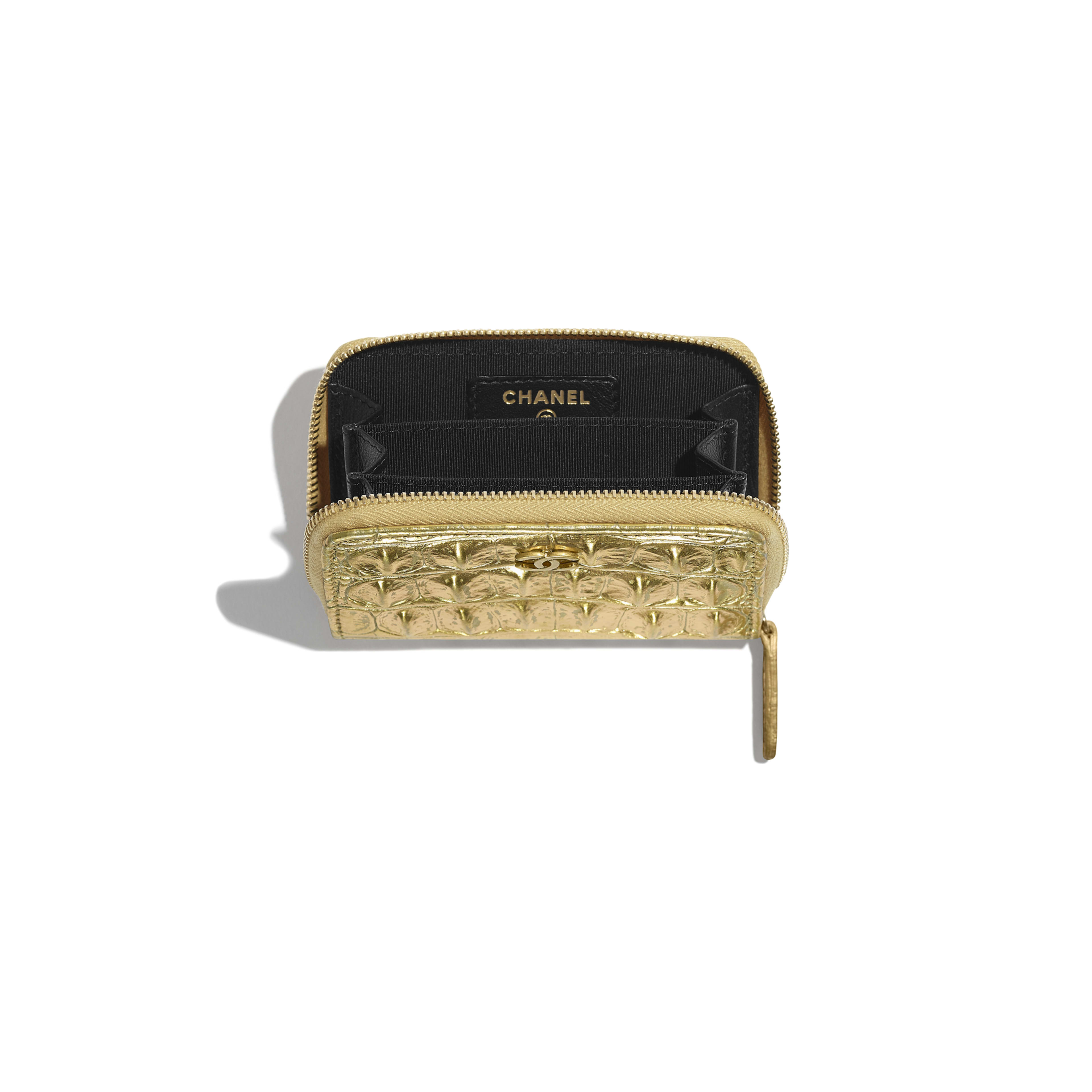 Classic Zipped Coin Purse - Gold - Metallic Crocodile Embossed Calfskin & Gold Metal - Other view - see full sized version